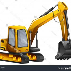 Caterpillar Trackhoe Bulldozer Vector: Closeup Yellow Excavator Giant Shovel