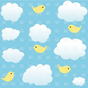Clouds Backgrounds Vector: Abstract Background With White Paper Clouds Over Blue Striped Pattern