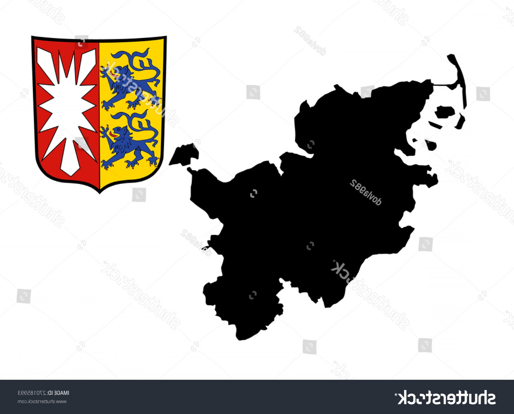 Crest And Coat Of Arms Vector Silhouette: Coat Arms Schleswigholstein Vector Map High