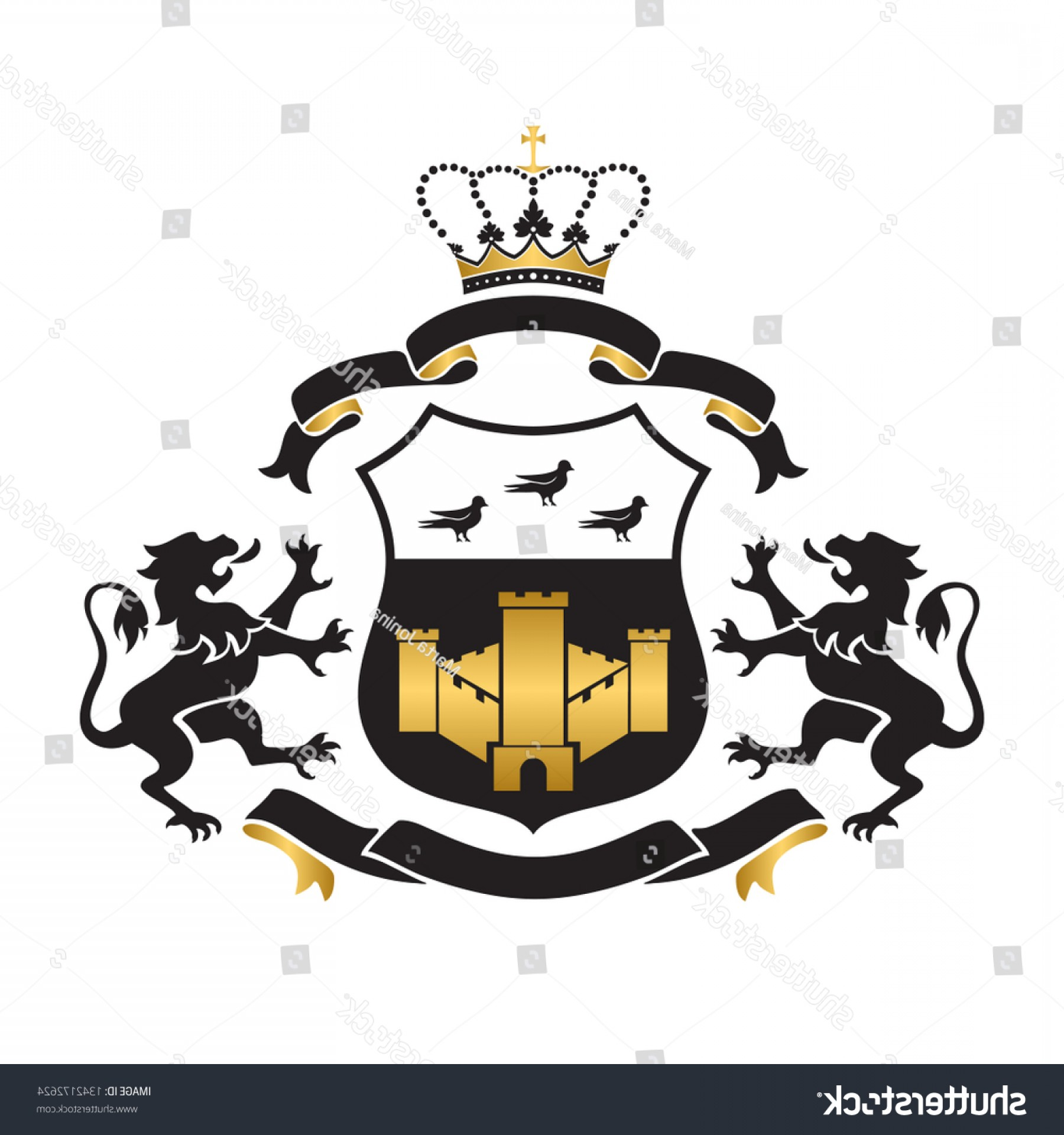 Standing Lions Crest Vector: Coat Arms Shield Fortress Birds Two
