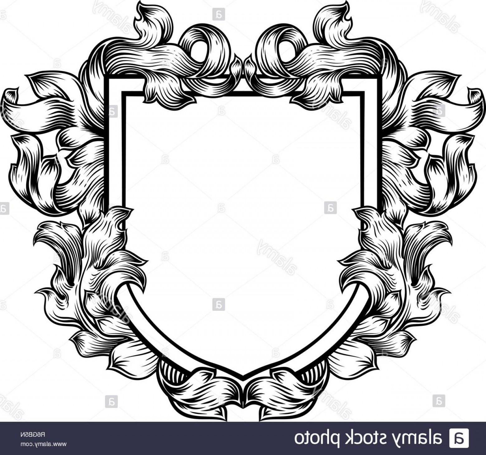 Crest And Coat Of Arms Vector Silhouette: Coat Of Arms Crest Family Knight Heraldic Shield Image