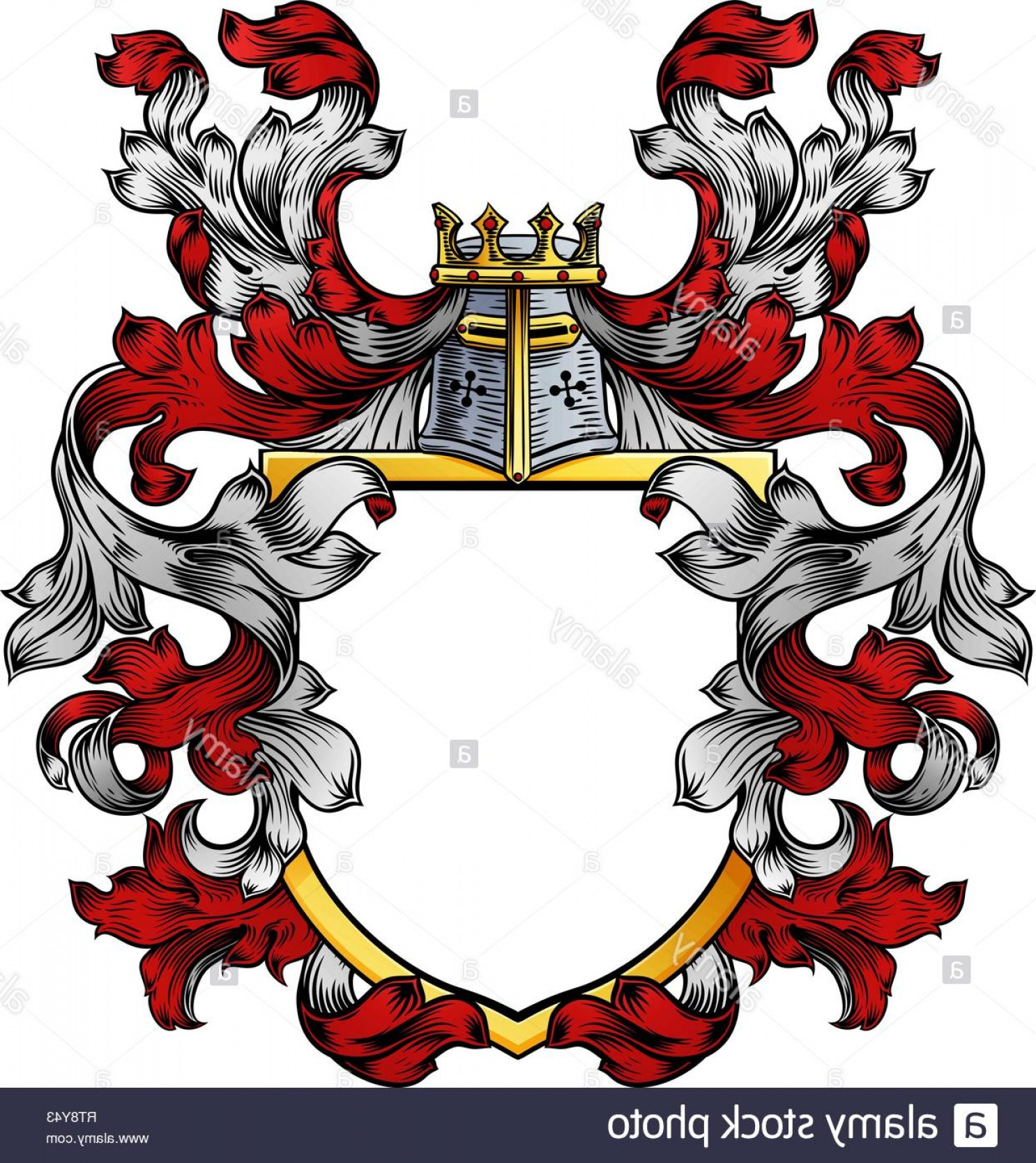 Crest And Coat Of Arms Vector Silhouette: Coat Of Arms Crest Knight Family Heraldic Shield Image