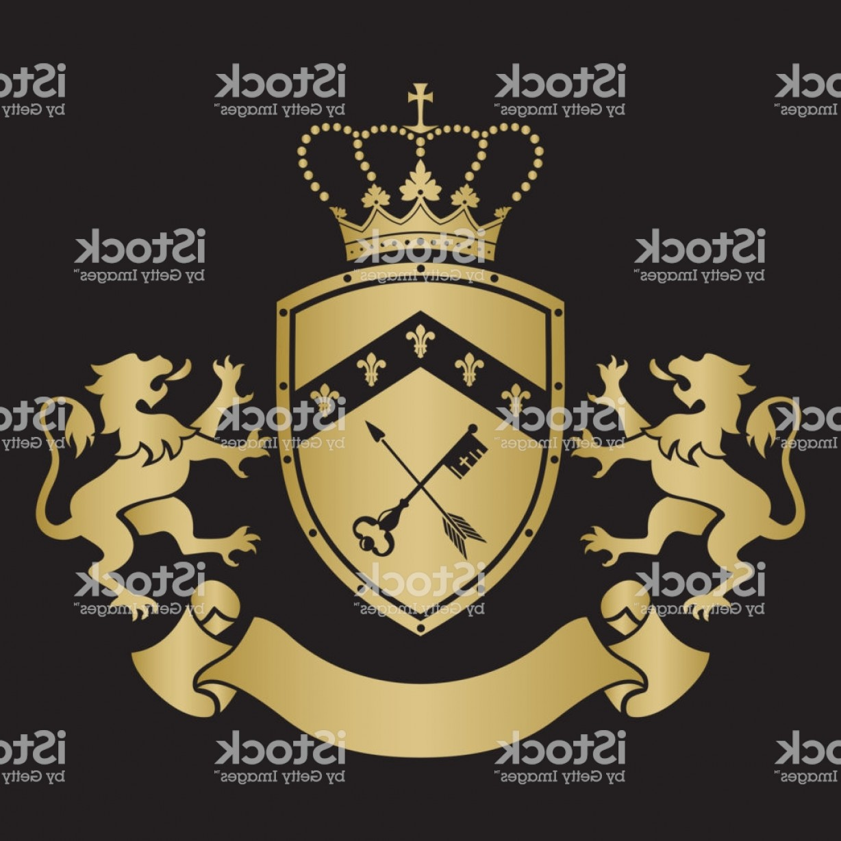 Standing Lions Crest Vector: Coat Of Arms Shield With Crown Key And Arrow Two Standing Lions At Sides Gm