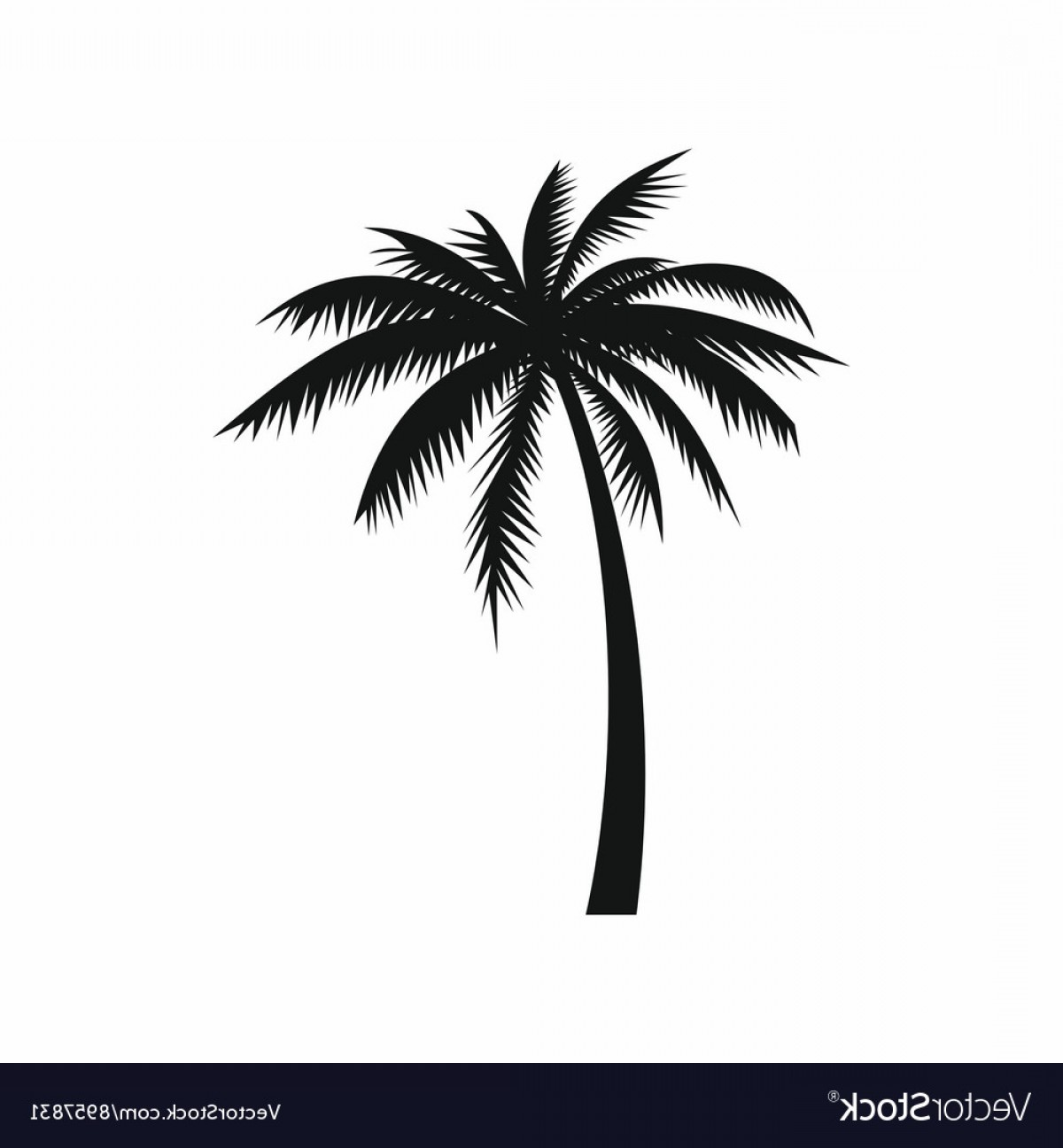 Simple Palm Tree Vector: Coconut Palm Tree Icon Simple Style Vector
