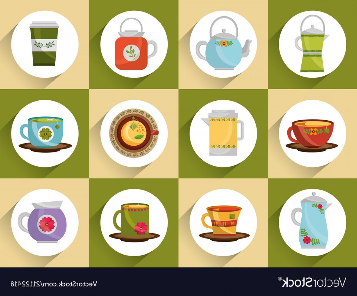 Vector Maker: Coffee And Tea Time Set Teapot Coffee Maker Cups Vector