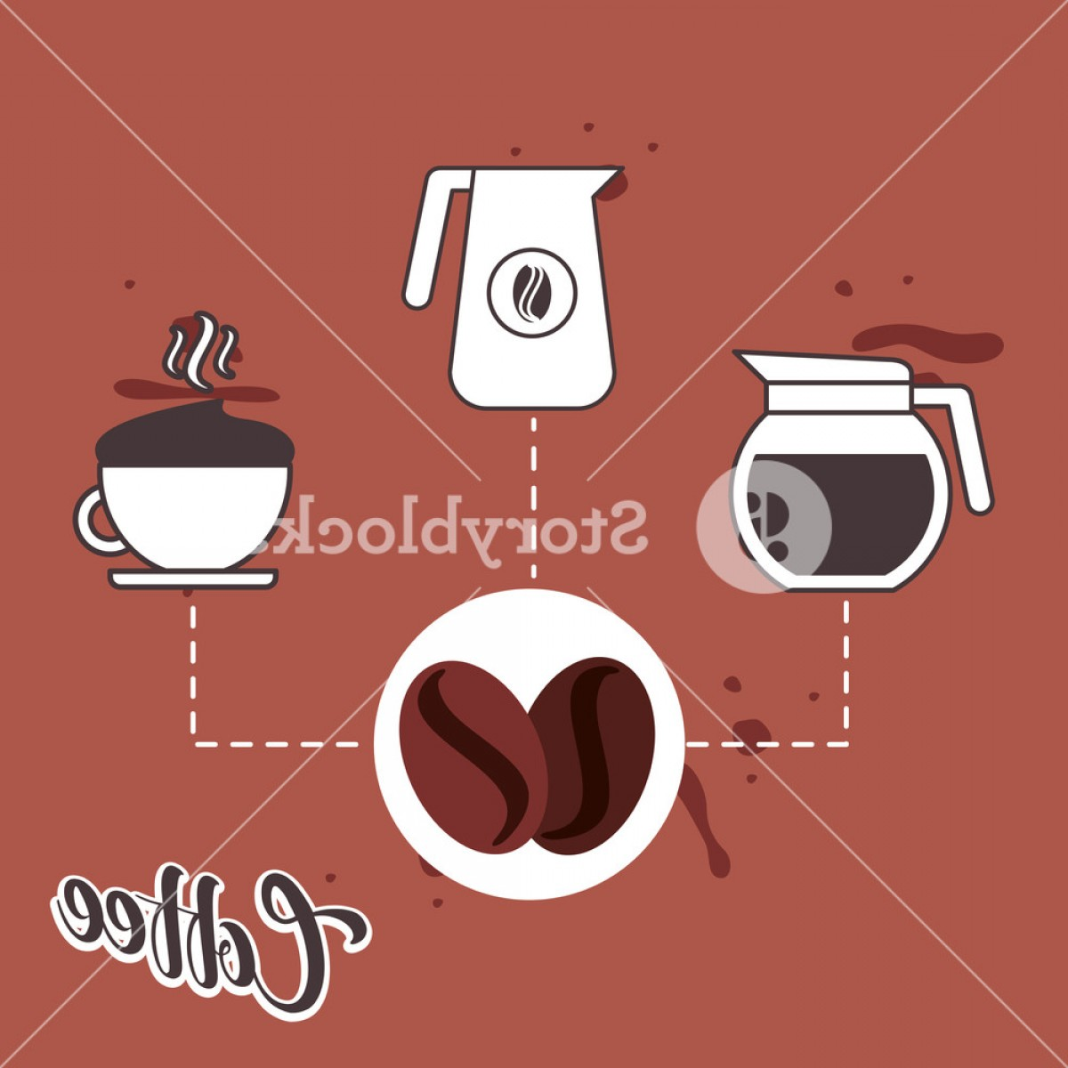 Vector Maker: Coffee Beans And Maker Pitcher And Ceramic Cup Vector Illustration R Gxi Dimjfqqpy