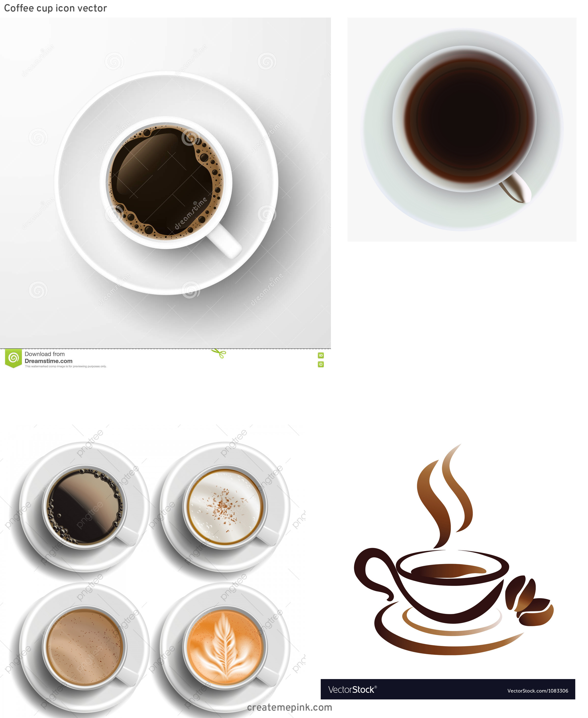 Bird's Eye View Coffee Cup Vector Art: Coffee Cup Icon Vector