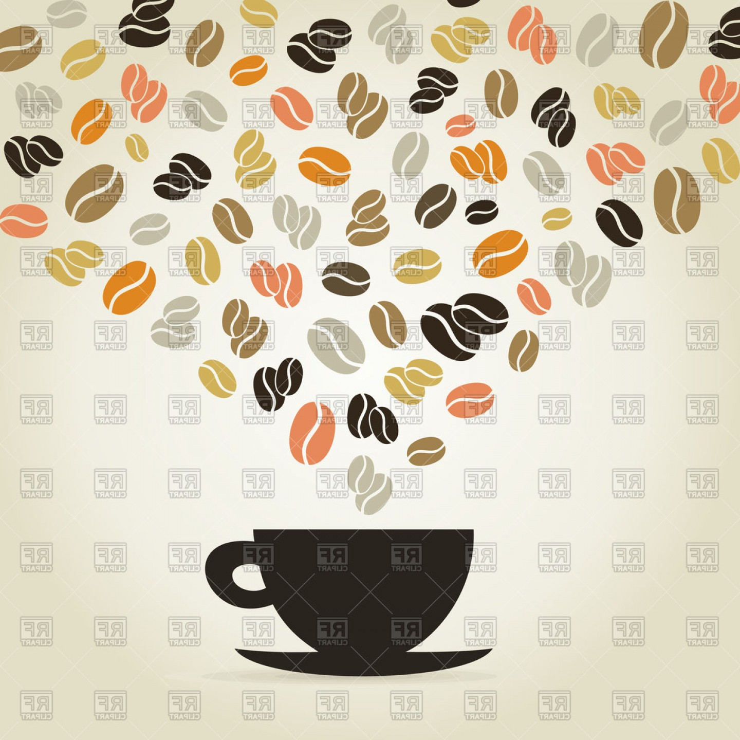 Free EPS Vector Art: Coffee Cup With Coffee Beans Vector Clipart
