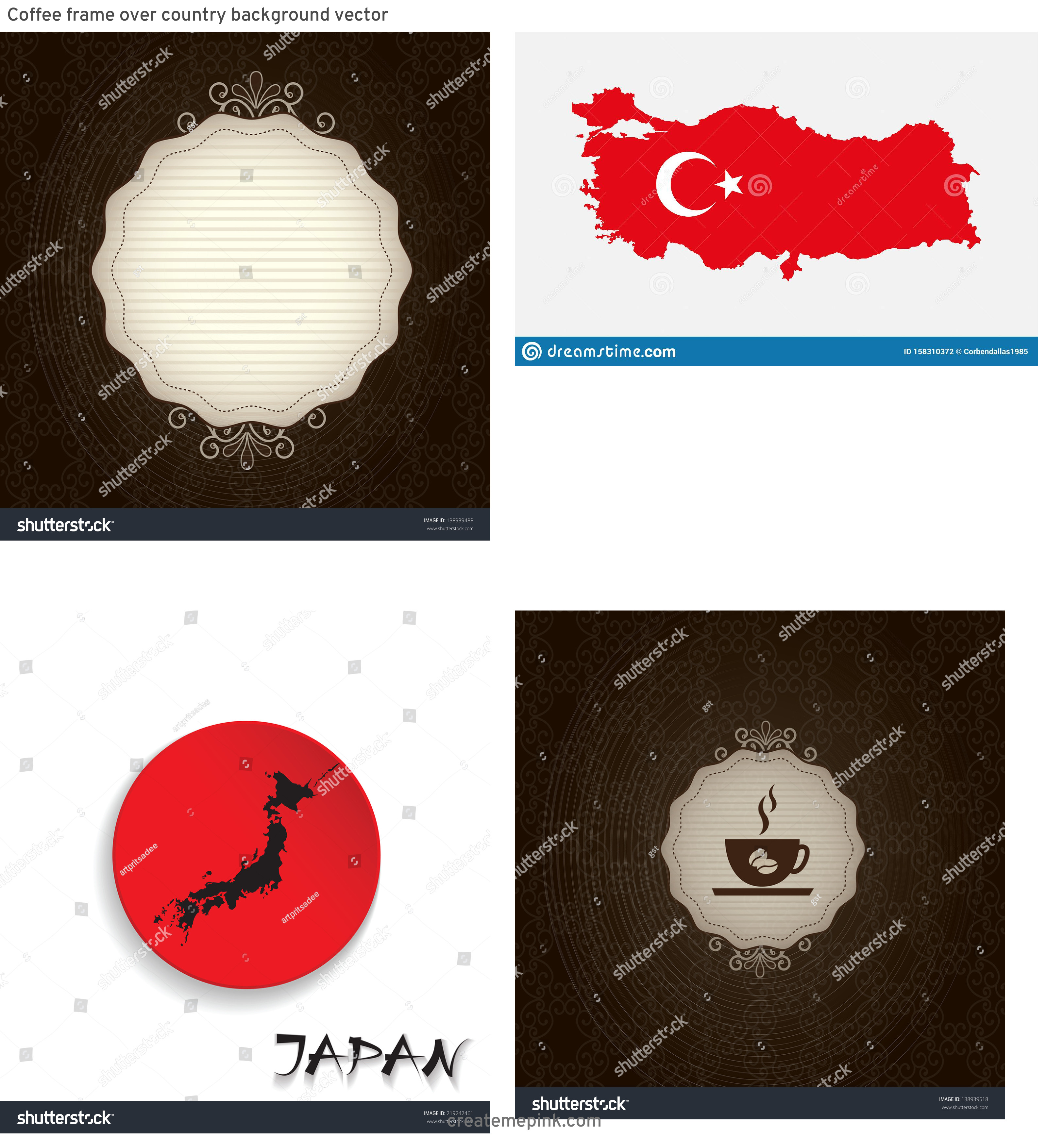 Country Background Vector: Coffee Frame Over Country Background Vector