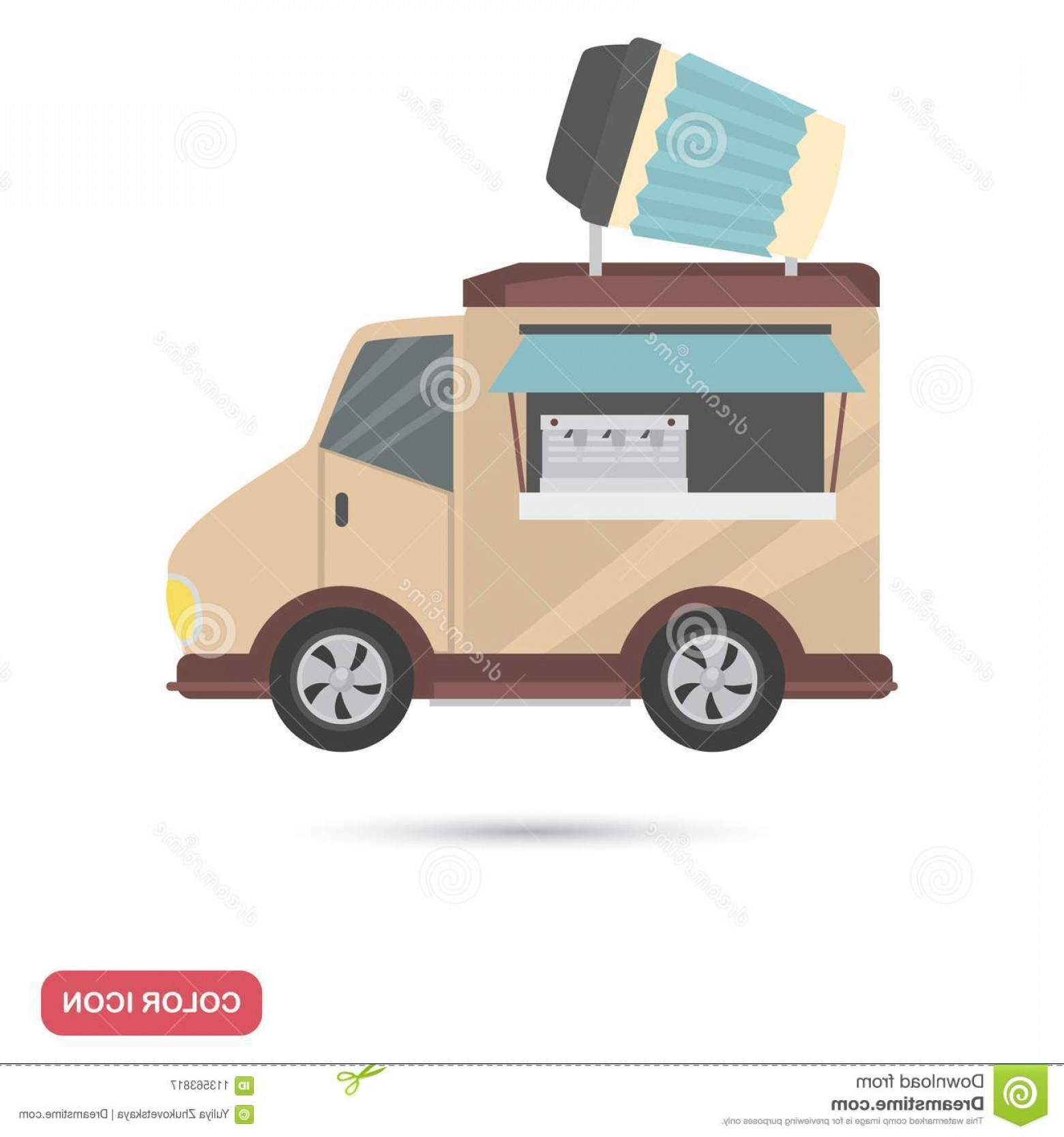 Wen Vehicle Vector Art: Coffee House Wheels Color Flat Icon Wen Mobile Design Coffee House Wheels Color Flat Icon Image