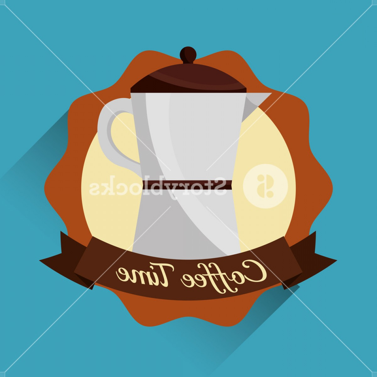 Vector Maker: Coffee Maker Kitchenware Emblem Coffee Time Vector Illustration Bznqaxdxjicwxwy