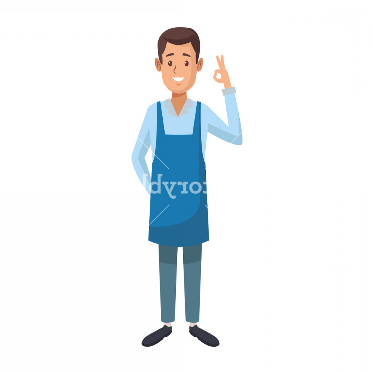 Vector Waiter Coffee: Coffee Shop Waiter Cartoon Vector Illustration Graphic Design Bvrkgndnjrtkfju