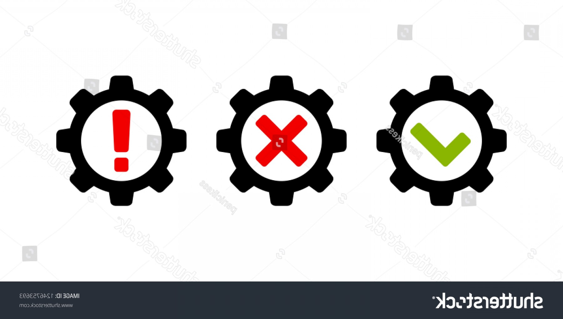 Gear Vector Icons Large: Cog Wheel Gear Correct Wrong Exclamation