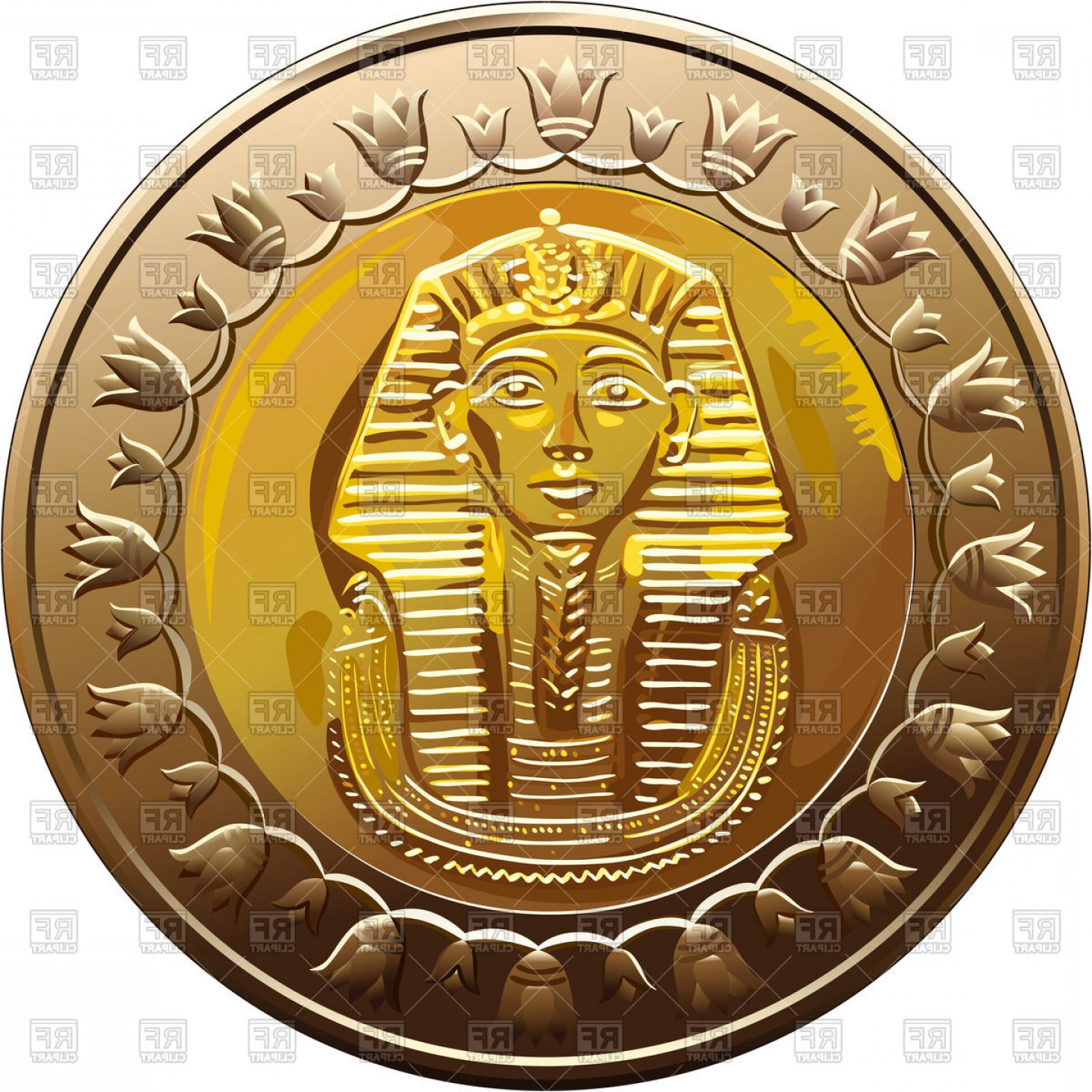 Egyptian Money Symbol Vector: Coin Of Egypt One Pound With Image Of Head Of Pharaoh Vector Clipart