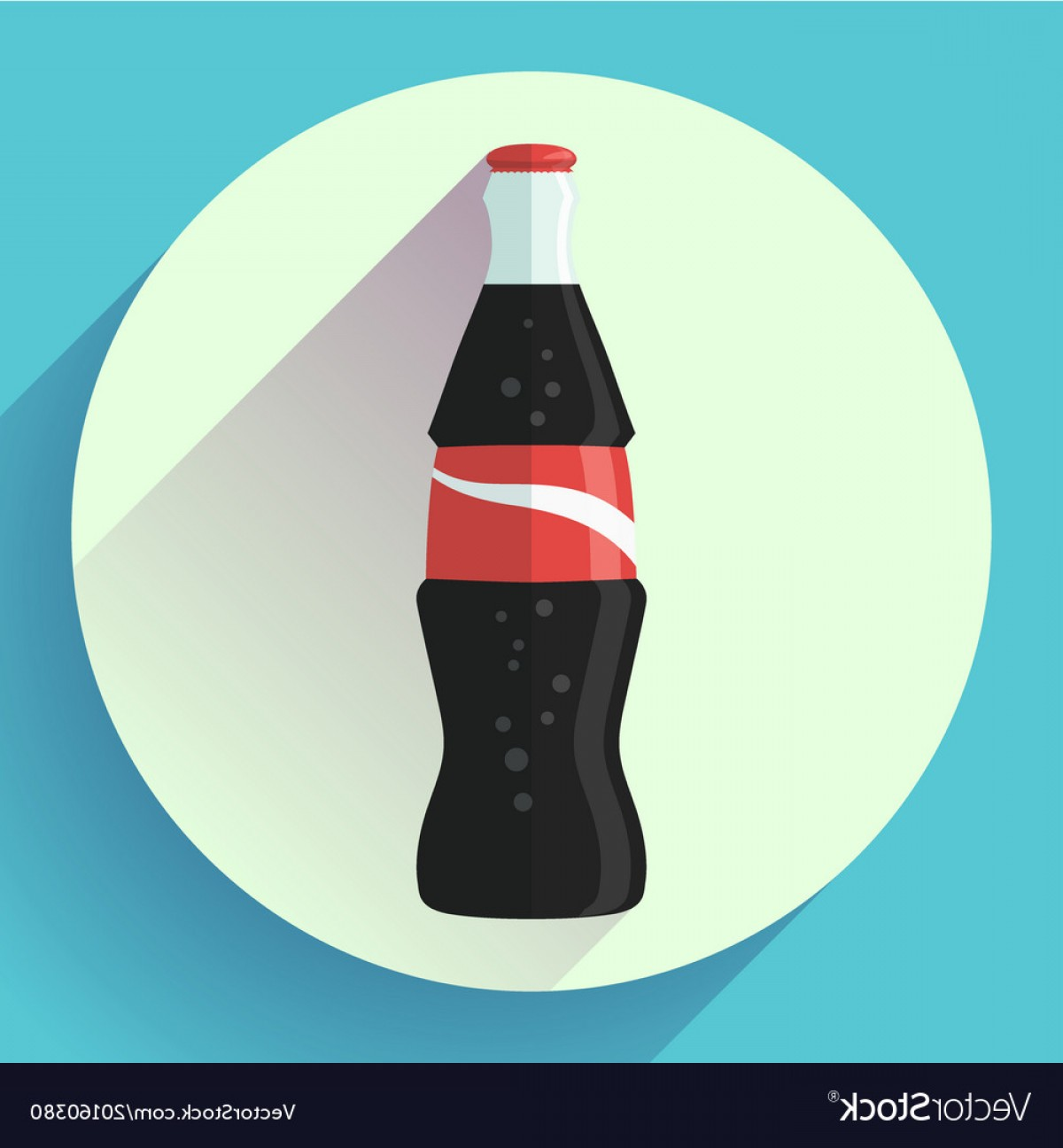 Coca-Cola Vector Silhouette: Cola Bottle Soda Bottle With Red Lable Flat Vector