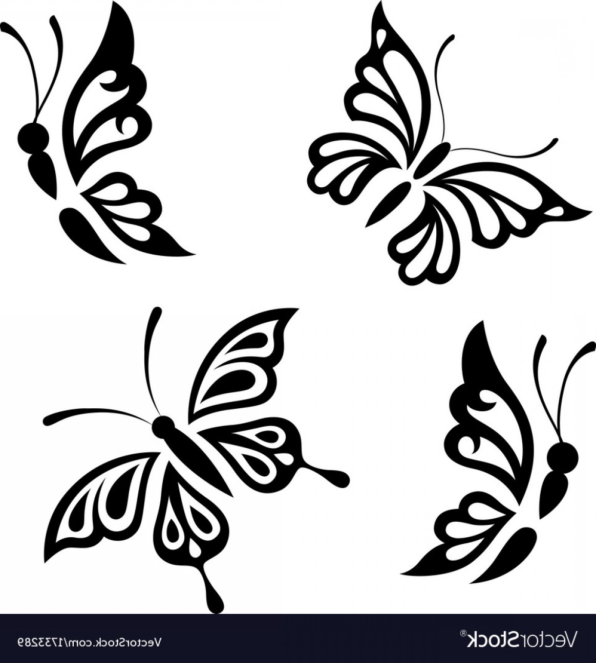 Butterly Vector: Collection Black And White Butterflies Vector