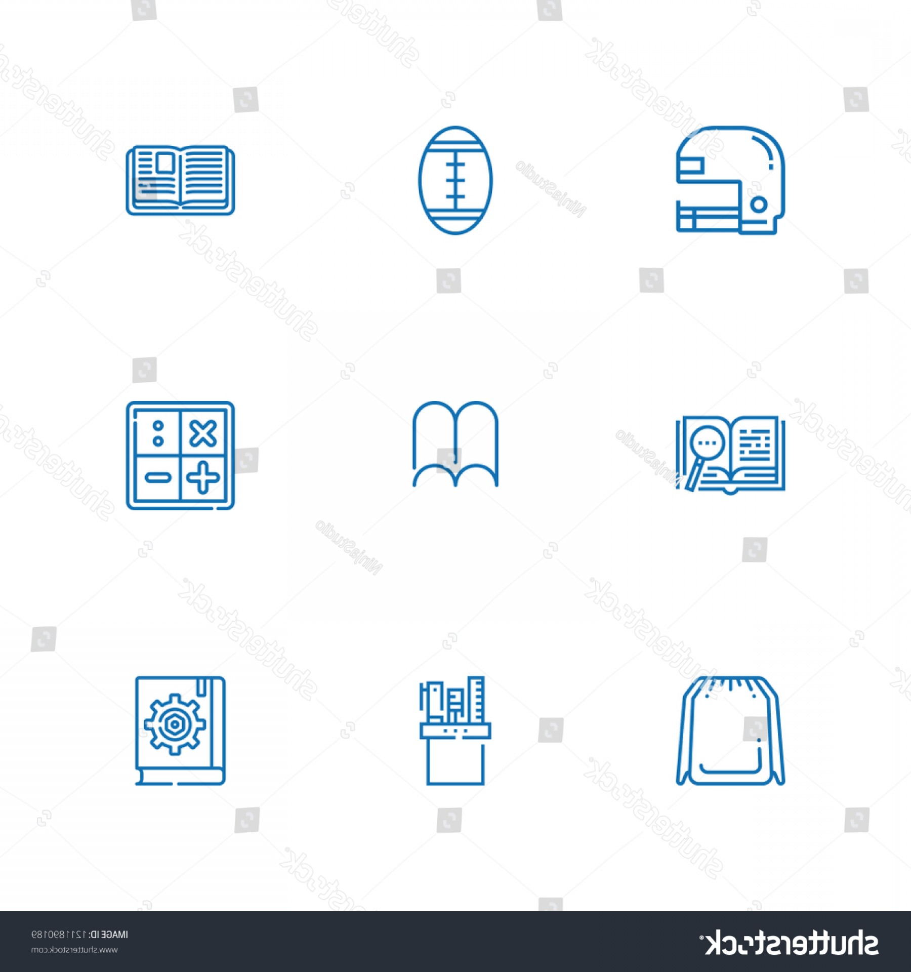 Open VI Stock Vector: Collection College Outline Icons Include