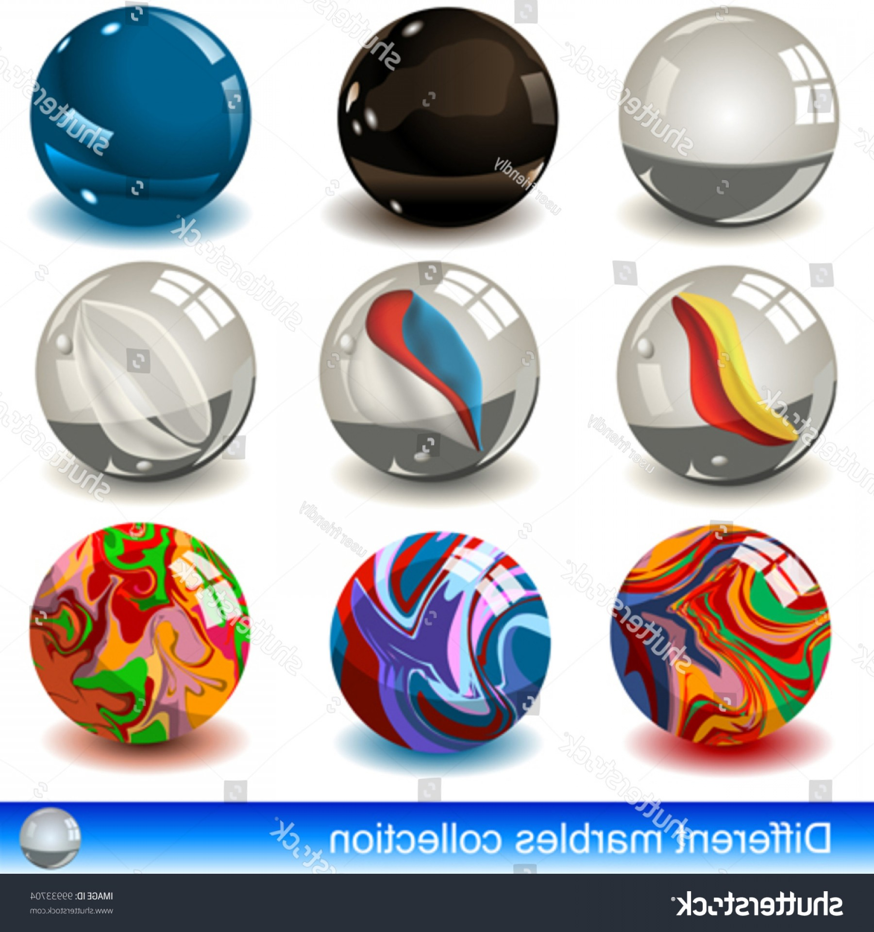 Vector Sphere Marble: Collection Different Marbles Eps Images