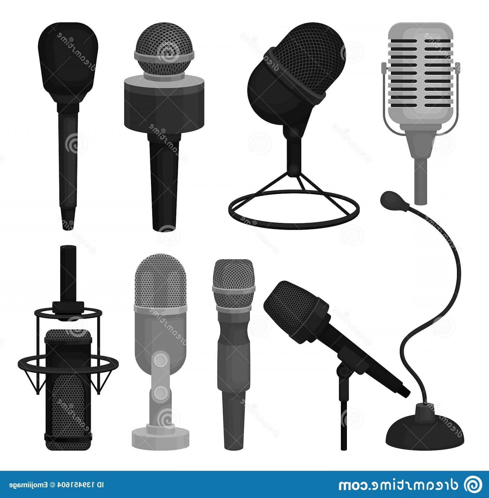 Mics Vector Designs: Collection Different Microphones Professional Dynamic Condenser Mics Sound Equipment Devices Recording Voice Colorful Image