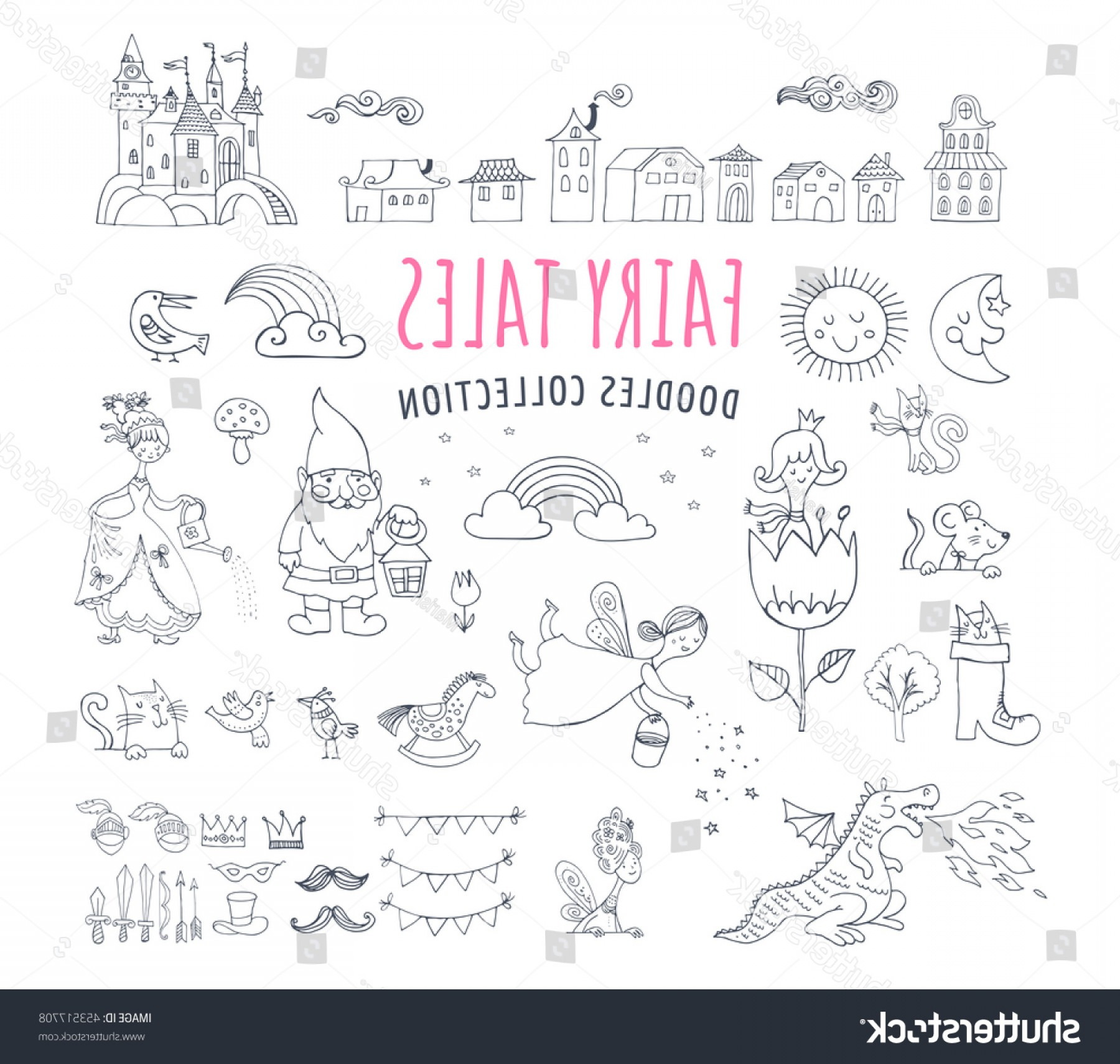 Hand Drawn Vector Fairy Tale: Collection Fairy Tales Hand Drawn Doodles