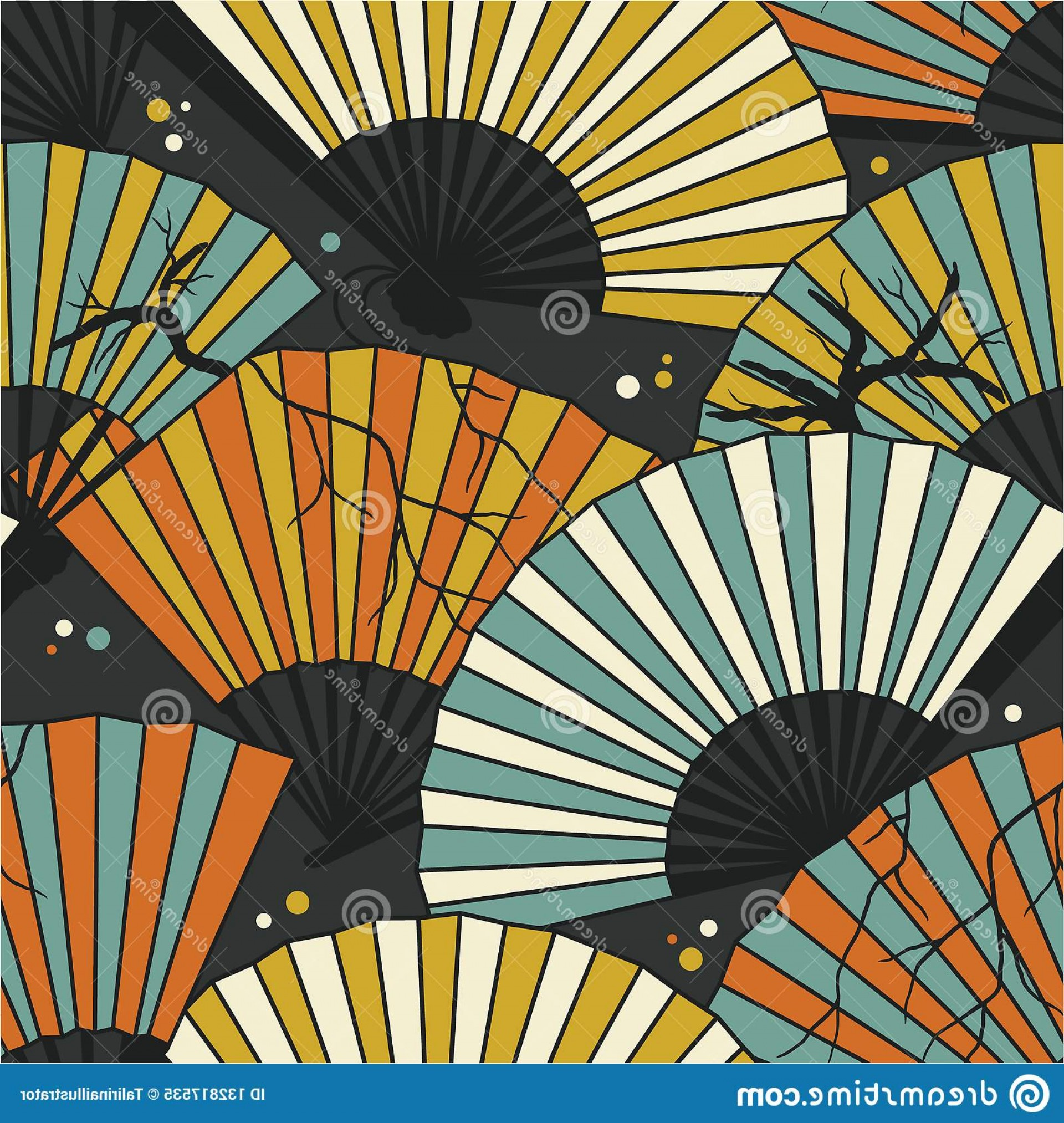Vector Group Of Hands Overlapped: Collection Fans Seamless Pattern Vector Colorful Overlapping Backdrop Image