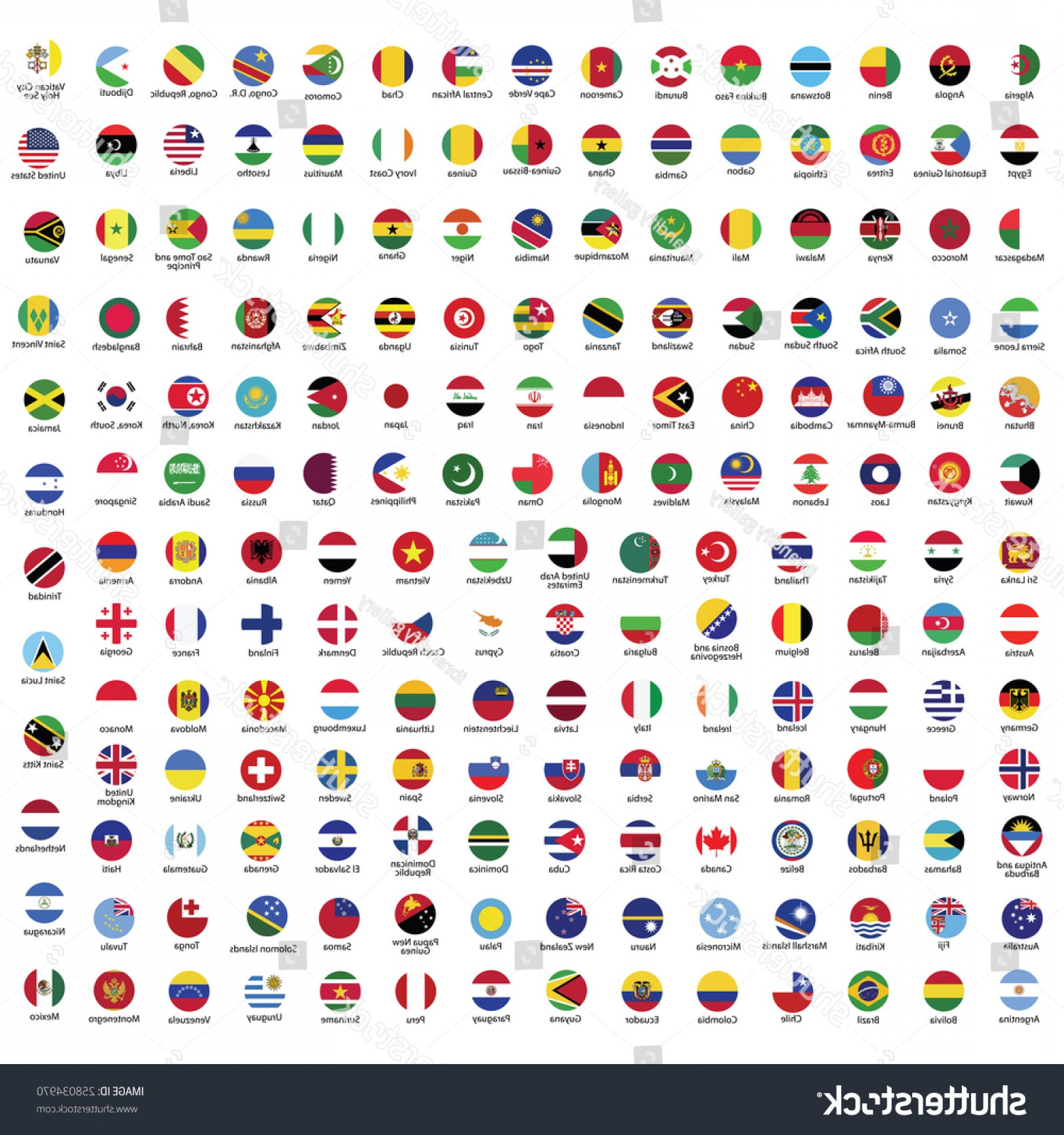 Vector Round Name List: Collection Flag Button Name Circle Flags