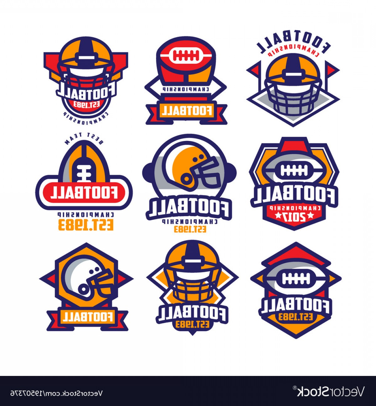 High Res Vector American Football: Collection Of Colorful American Football Logo Vector