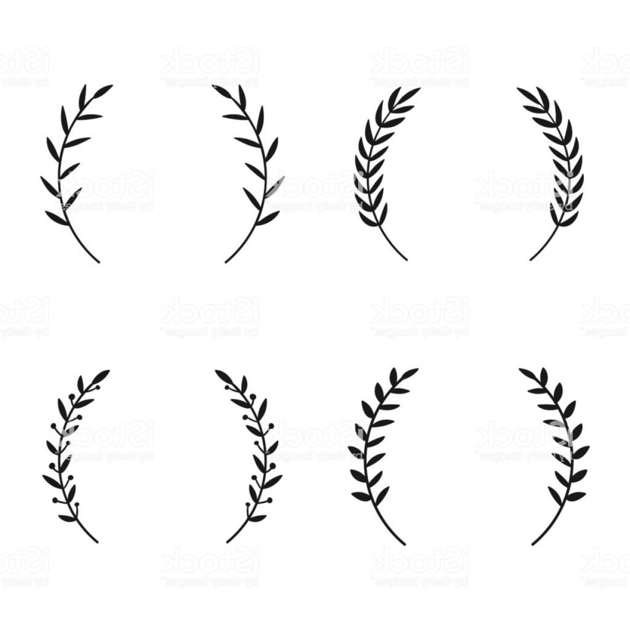 Hand Drawn Laurel Vector: Collection Of Different Laurel Wreaths Hand Drawn Vector Round Frames For Gm