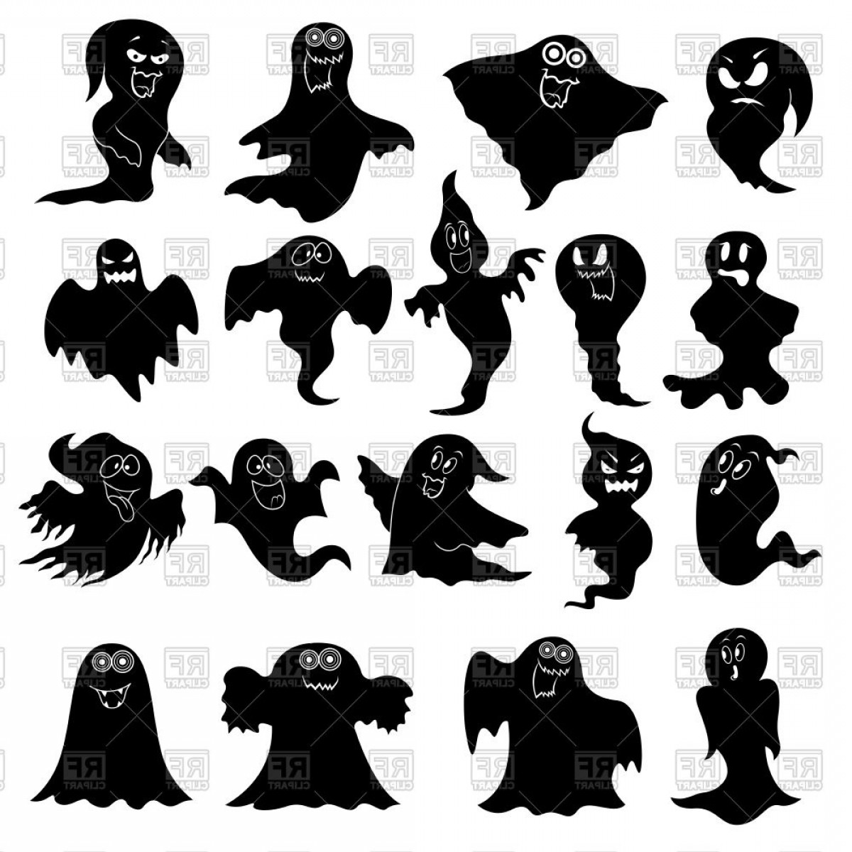 Ghost Vector Black: Collection Of Eighteen Amusing Flying Black Ghosts Vector Clipart