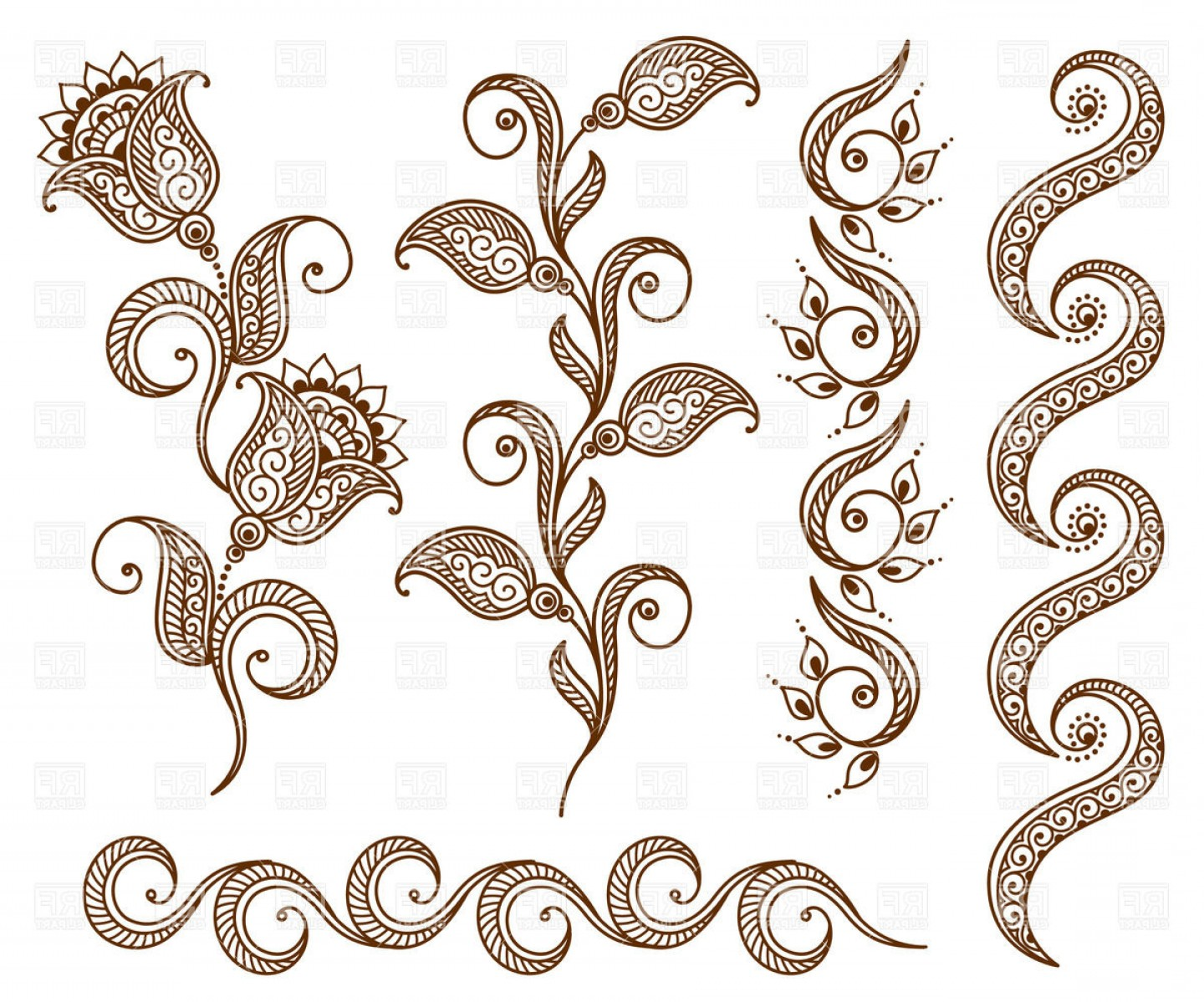 Vector Clip Art Collections: Collection Of Floral Ornamental Design Elements Vector Clipart