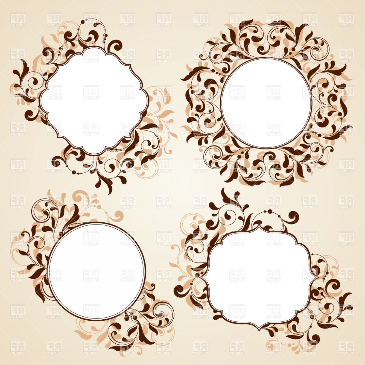 Vector Clip Art Collections: Collection Of Frames With Curly Floral Ornaments Vector Clipart