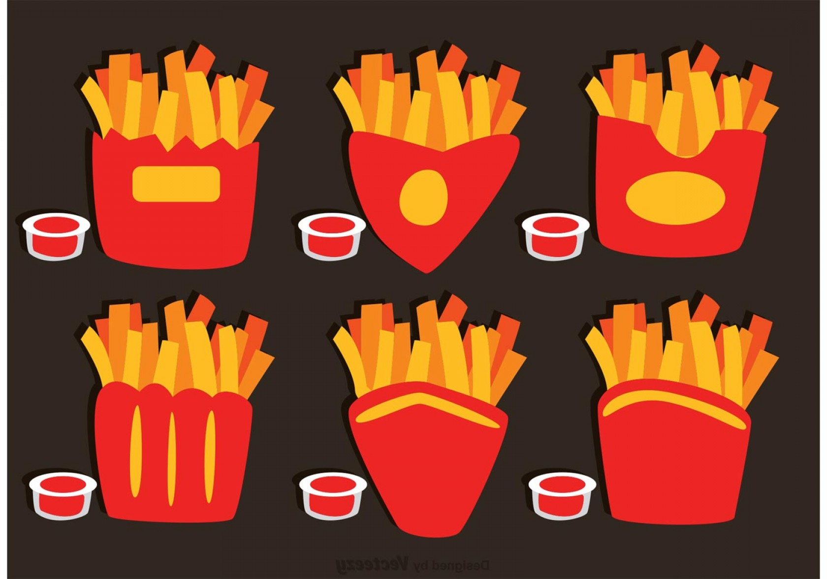 Fries Vector: Collection Of French Fries Box Vector