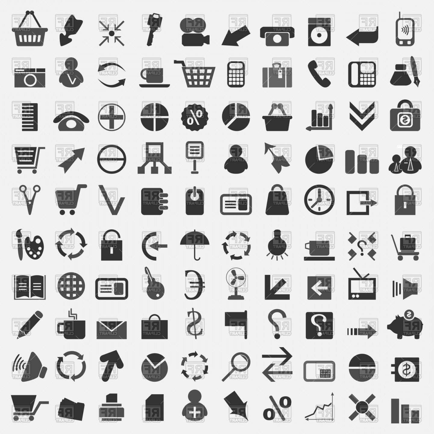 Vector Clip Art Collections: Collection Of Office Theme Icons Vector Clipart