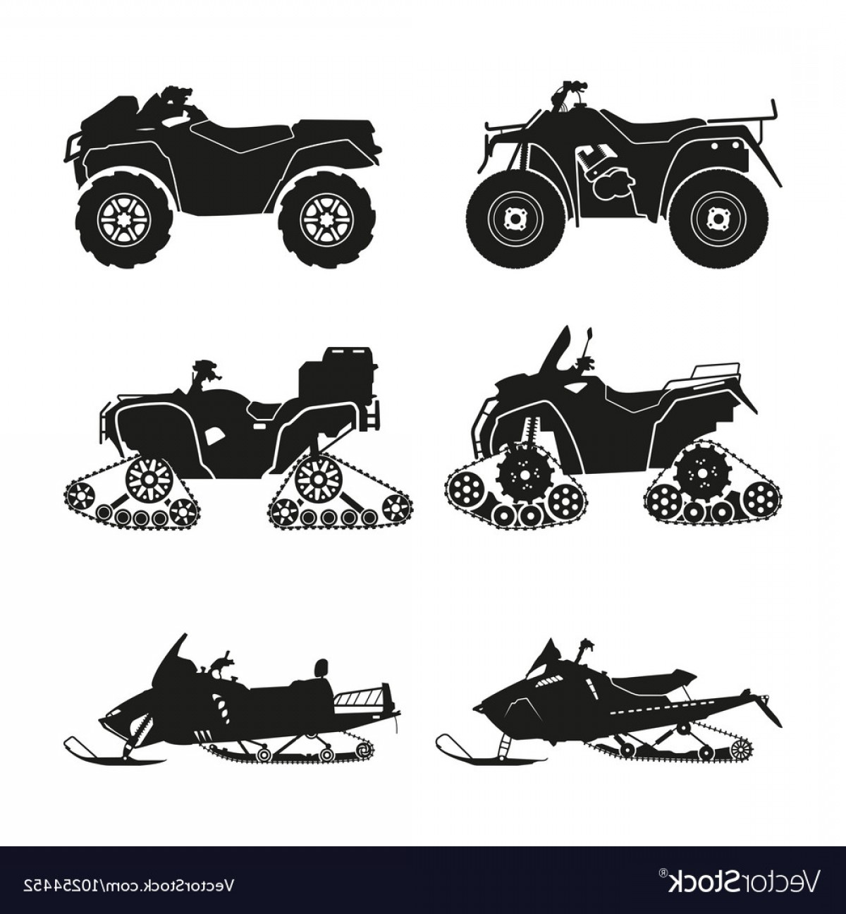 ATV Vector Clip Art: Collection Of Silhouettes Of Atv Vector