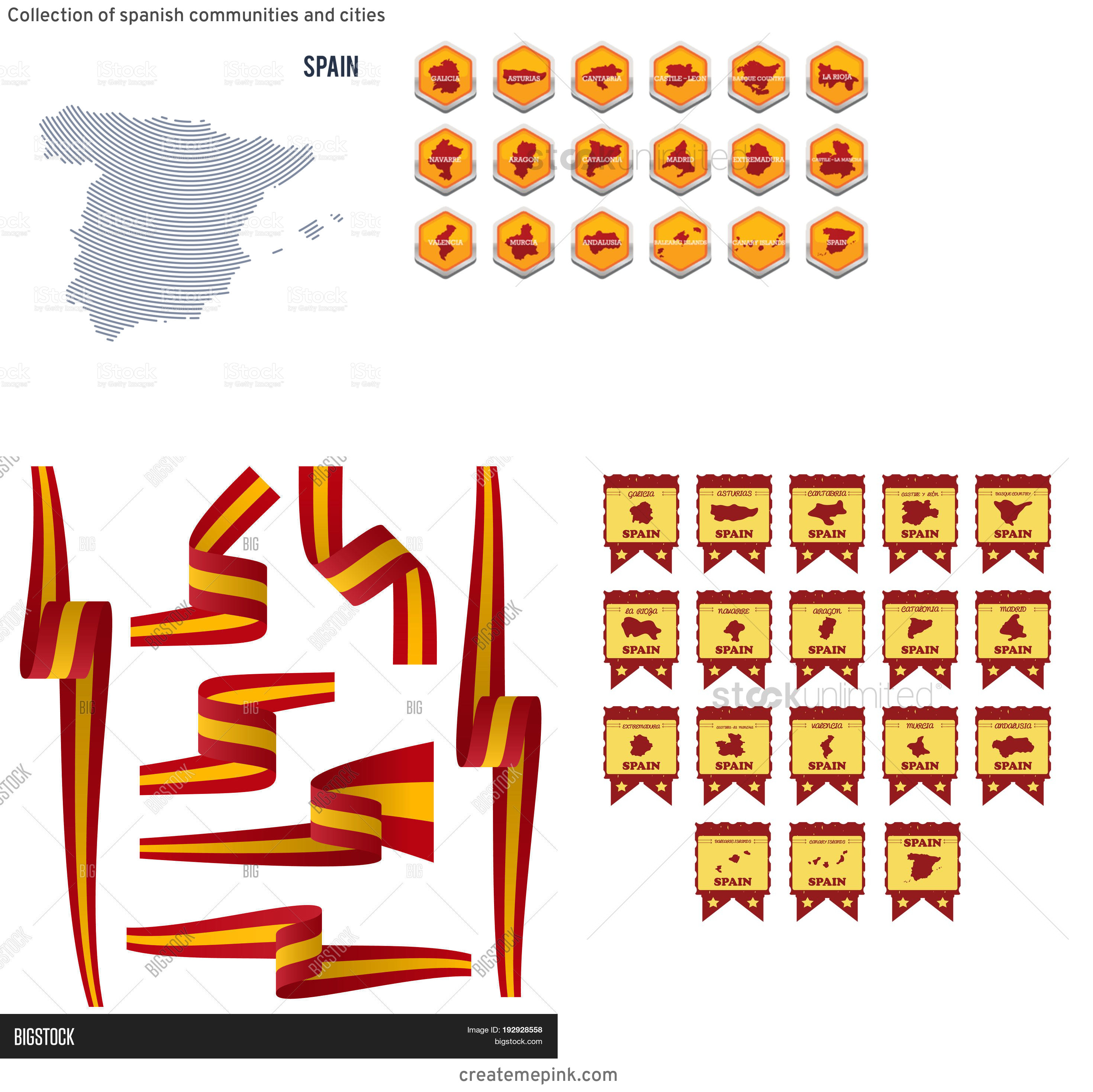 Spain Country Vectors Line: Collection Of Spanish Communities And Cities