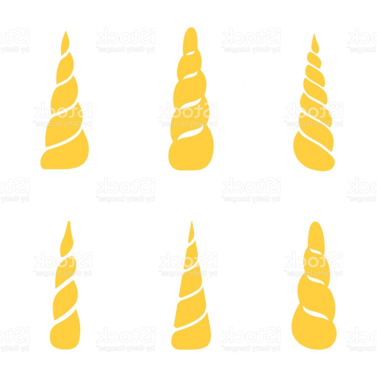 Unicorn Horn Vector: Collection Of Unicorn Horns Isolated On White Background Vector Gm
