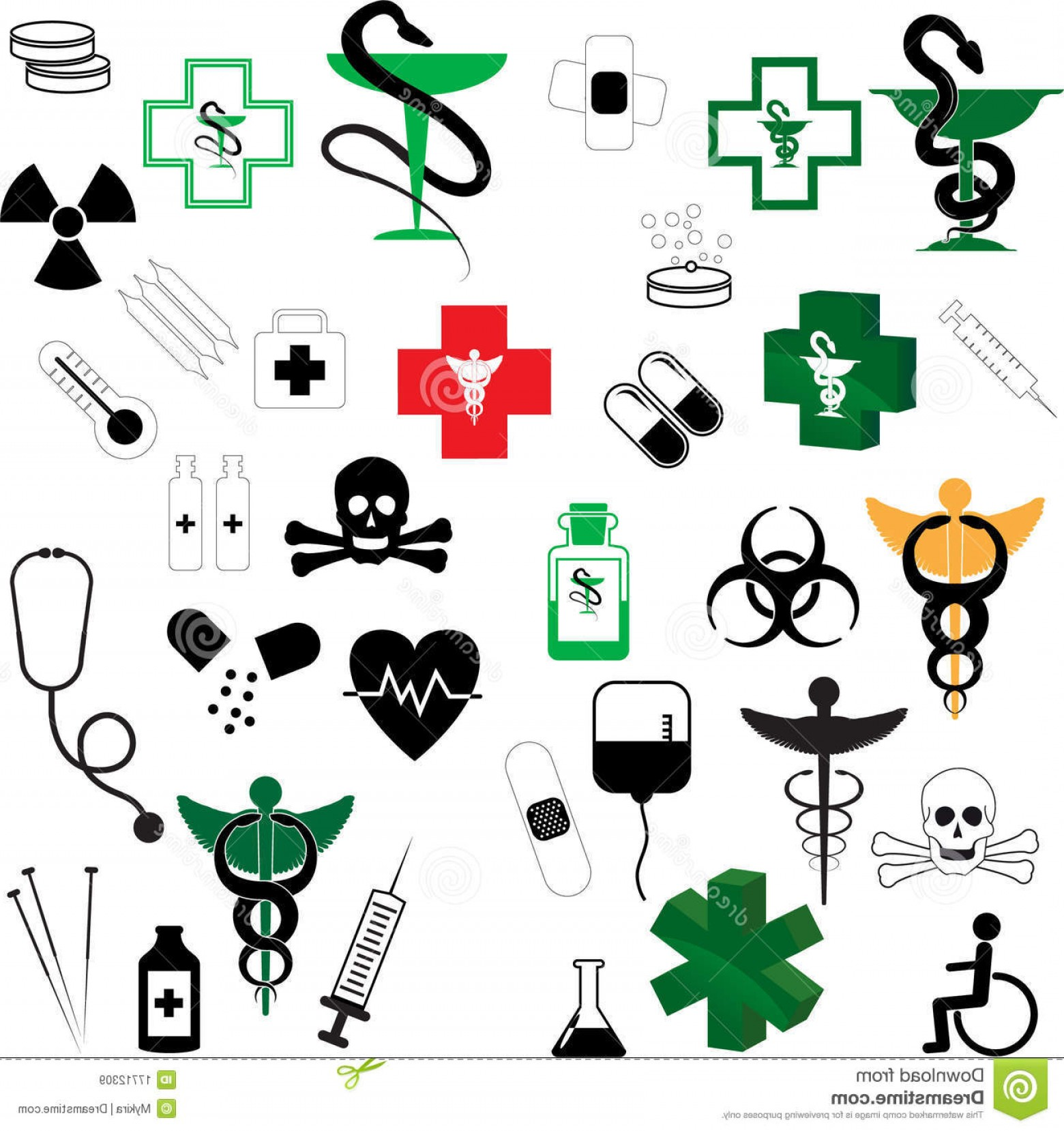 Medical Scepter Vector: Collection Of Vector Medical Symbols Illustration