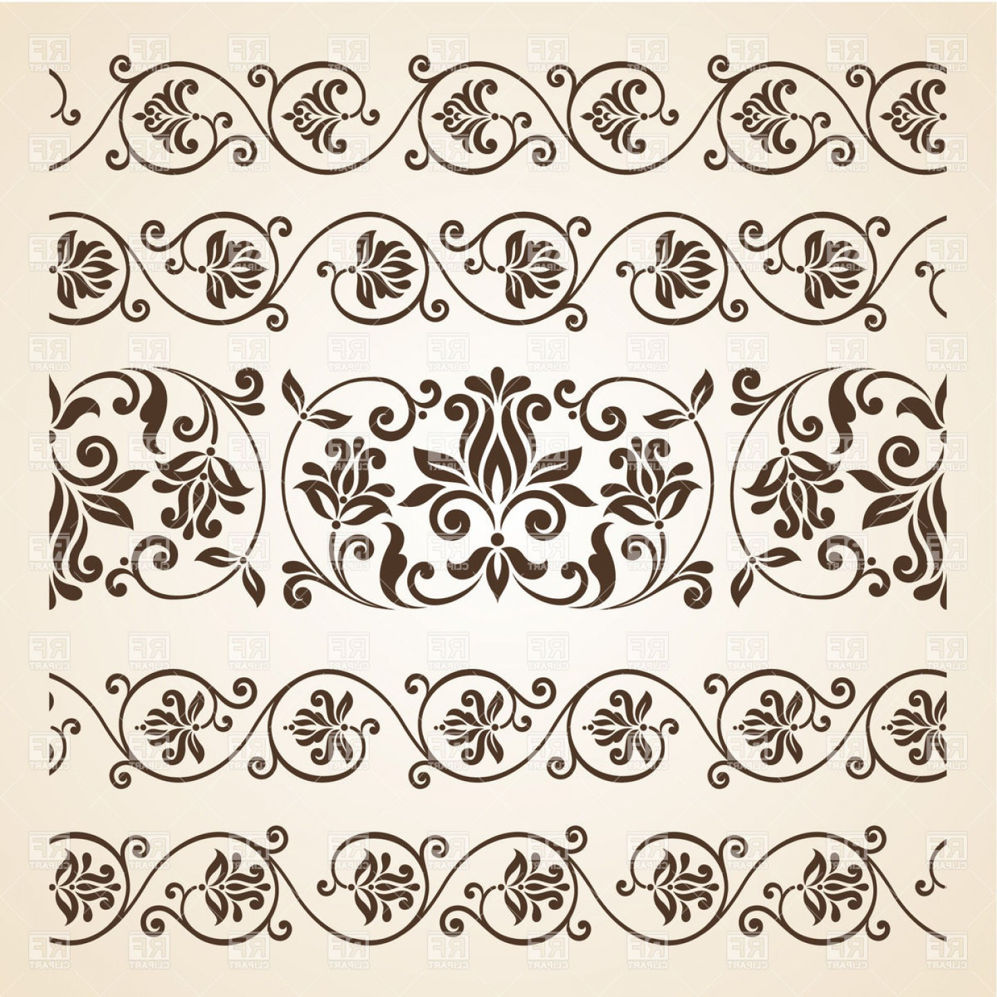 Vector Clip Art Collections: Collection Of Vintage Floral Borders Vector Clipart