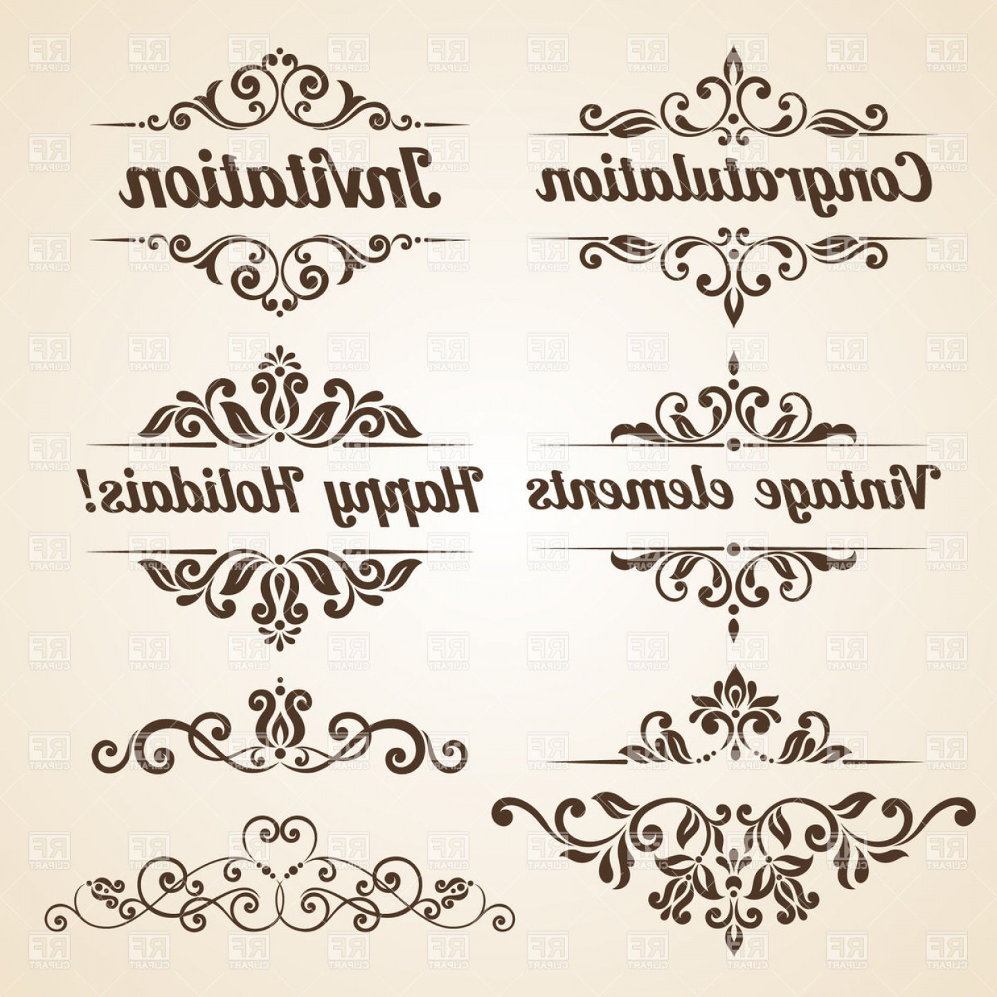 Vector Ornate Vintage Frame Blank: Collection Of Vintage Ornate Frames And Design Elements Vector Clipart