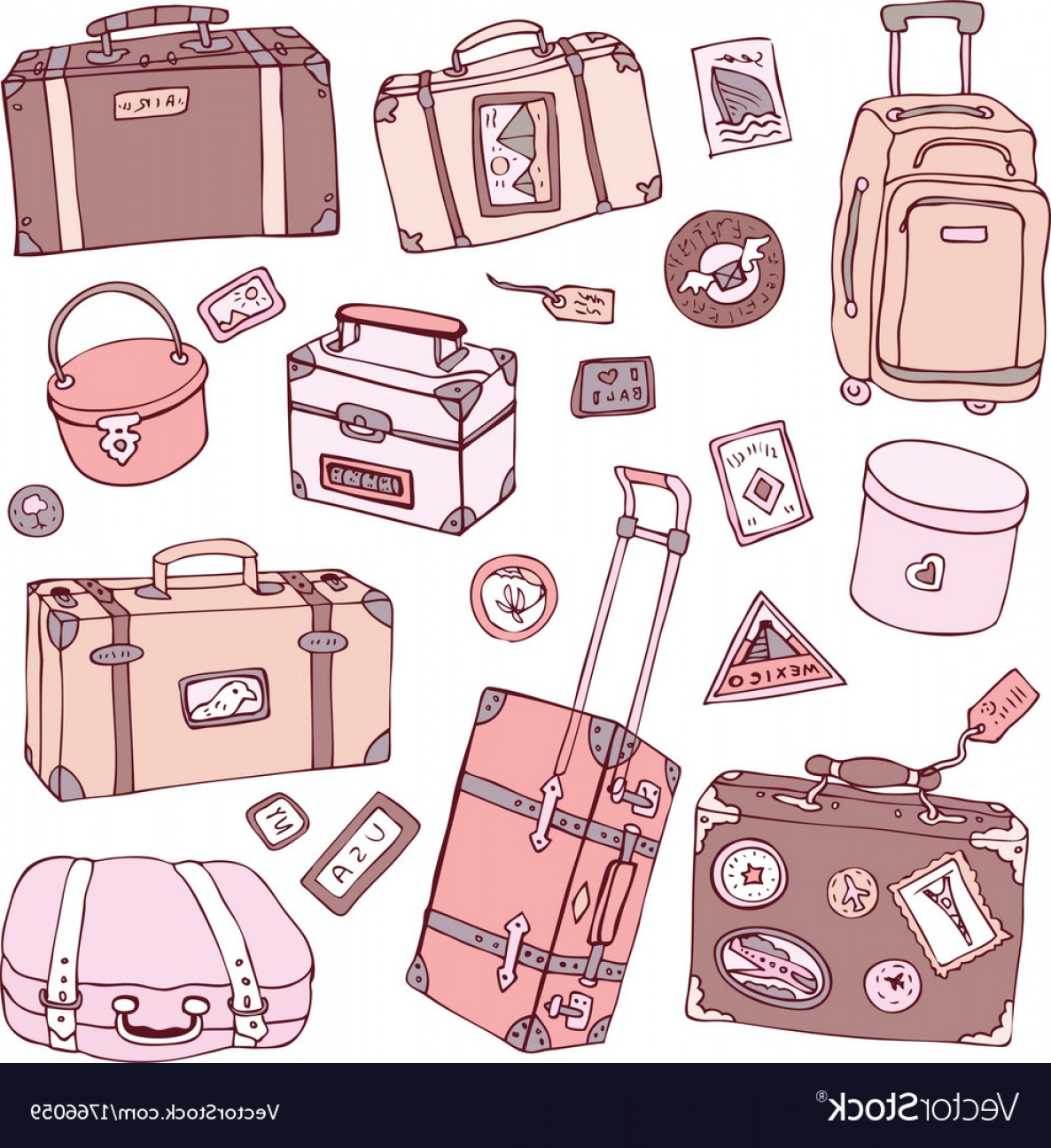 Vintage Luggage Vector: Collection Of Vintage Suitcases Vector