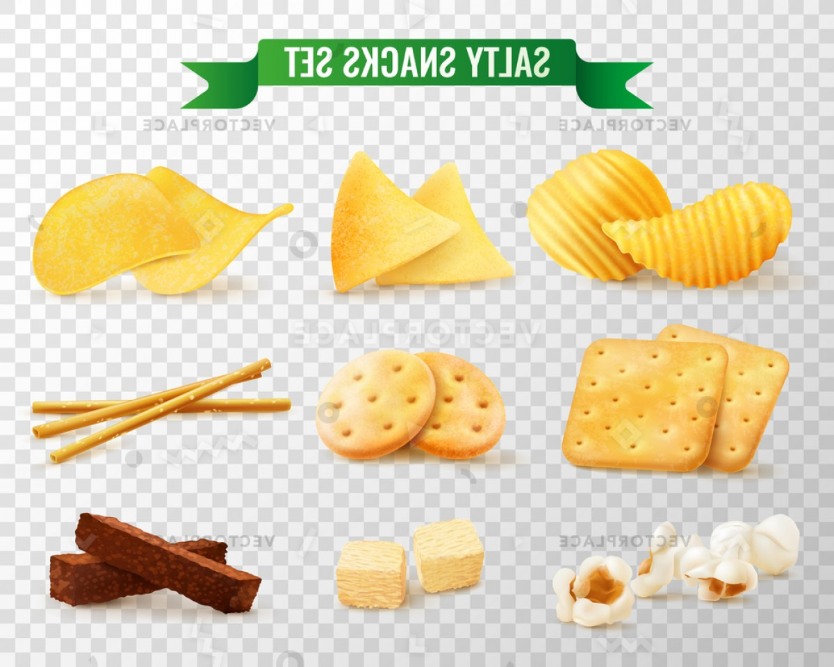 Snack Vector: Collection Salty Snacks Images Transparent Background Vector Illustration