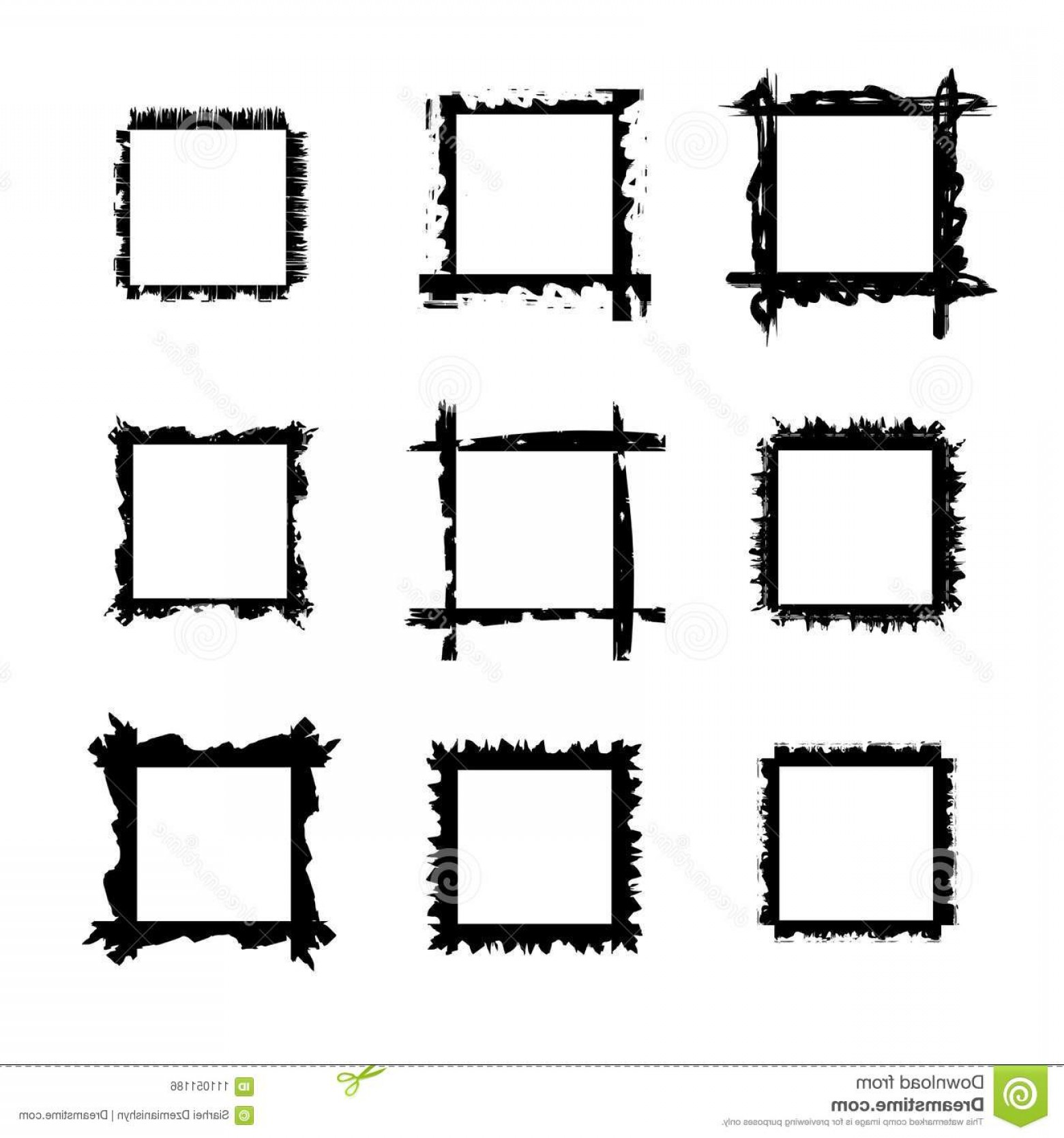Square Black Vector Border Frame: Collection Square Black Hand Drawn Grunge Frames Borders Set Vector Illustration Isolated Over White Design Elements Image