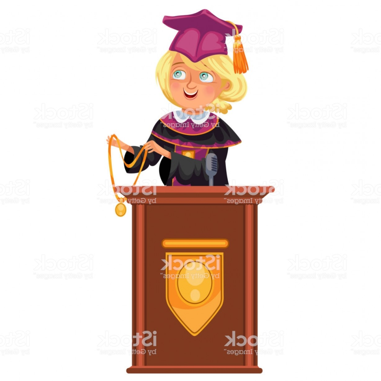 Standing Diploma Vector: College Graduation Flat Colorful Poster With Happy Girl Graduate Standing At Gm