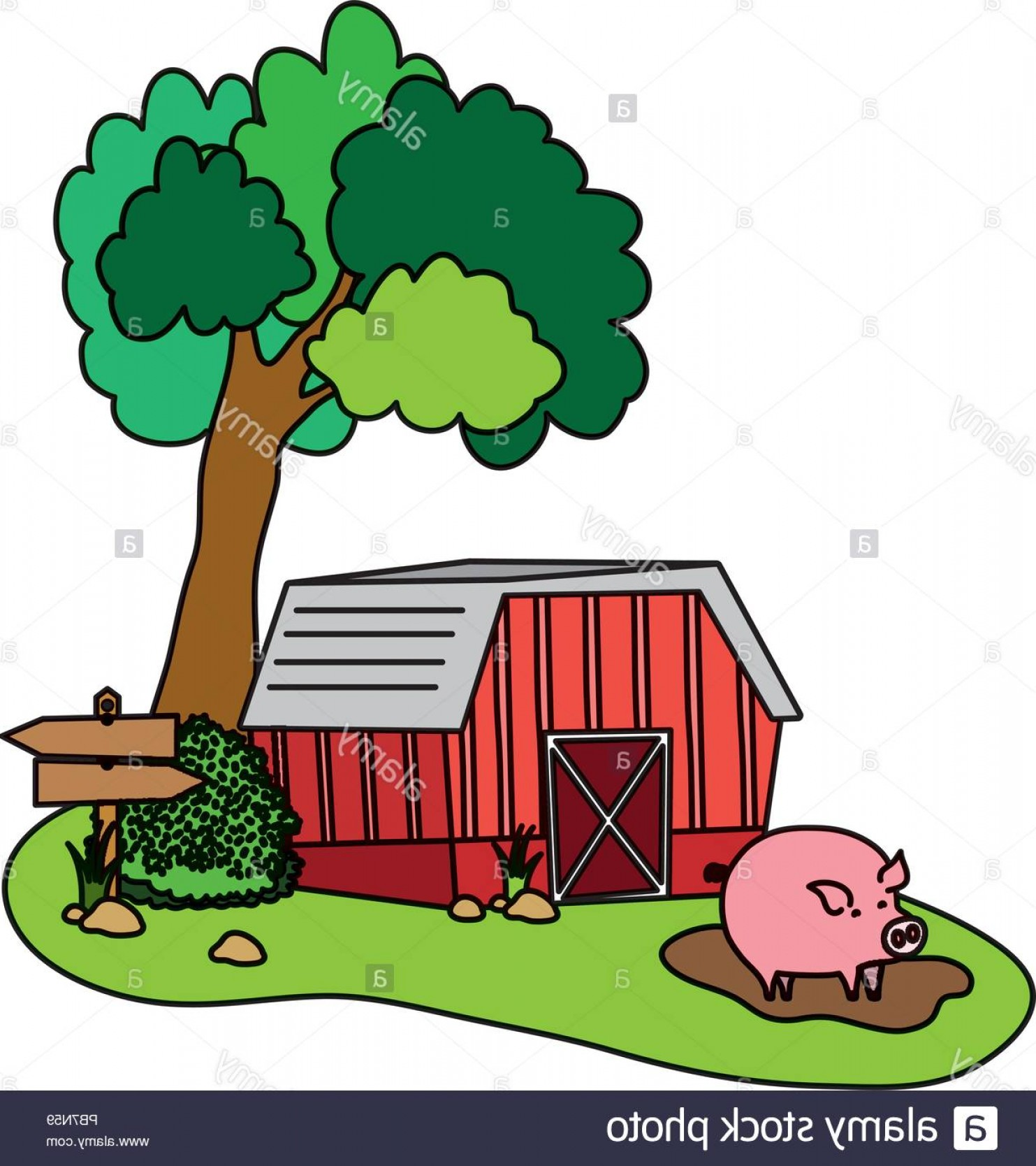 Swamp Vector Art: Color House Farm With Pig Animal In The Swamp Image