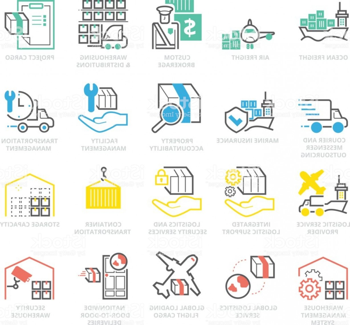 Nationwide Insurance Vector: Color Icons Set Of International Logistic Gm