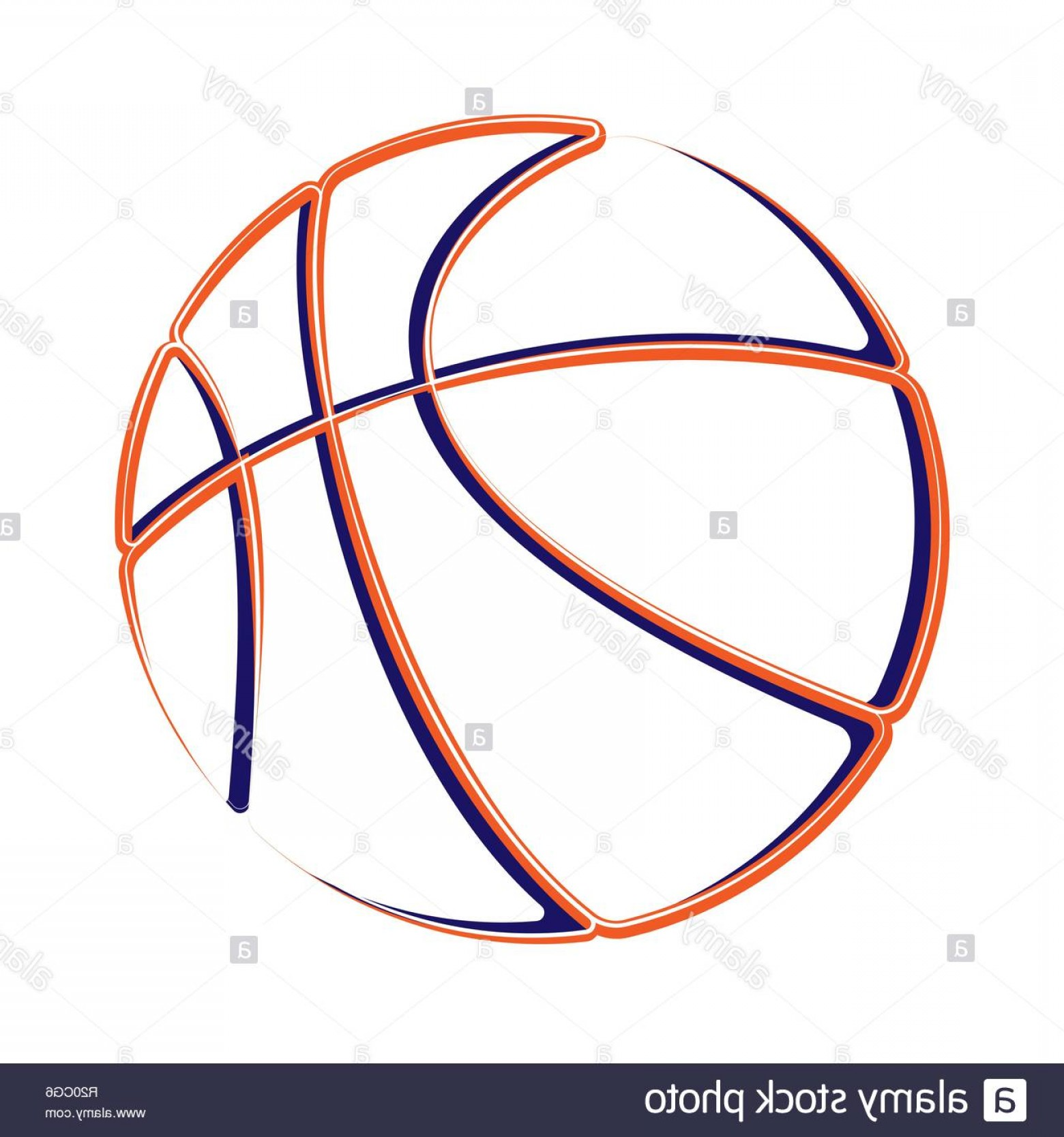 Color Basketball Outline Vector: Color Outline Basketball Symbol Isolated On White Background Image