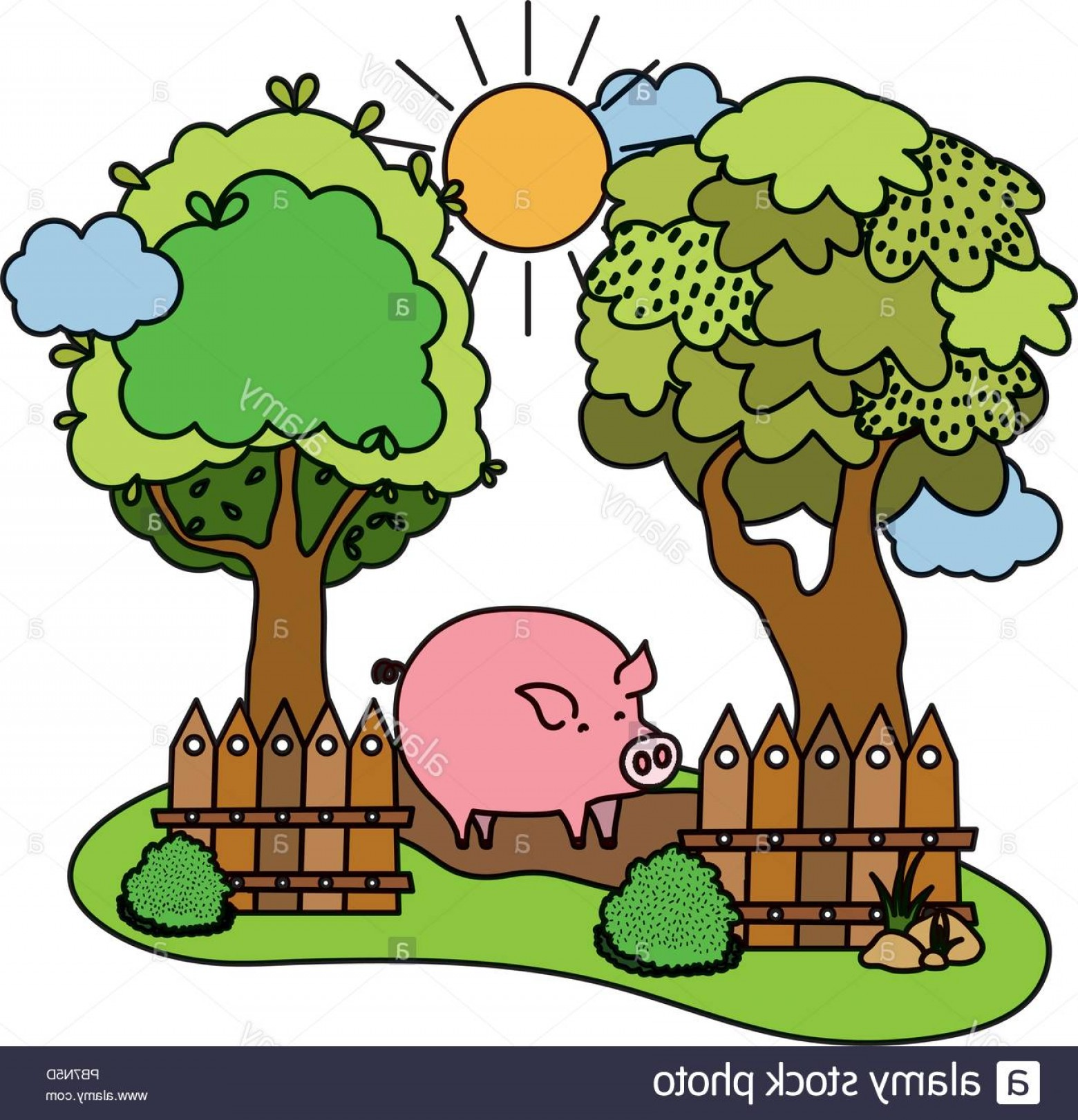 Swamp Vector Art: Color Pig Animal In The Swamp Farm And Trees Image