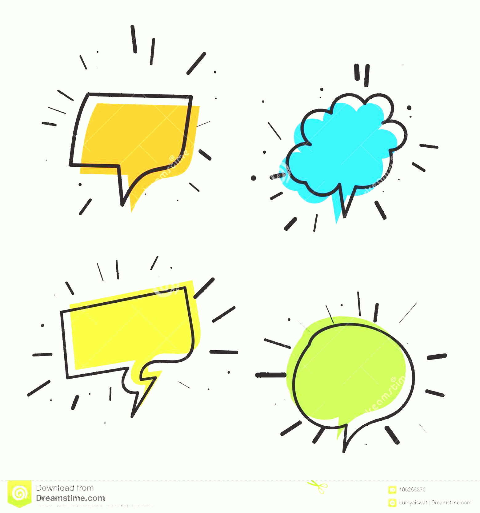 Thought Bubble Vector Sketch: Color Set Hand Drawn Speech Bubble Thought Bubbles Empty Sketch Vector Illustration Image