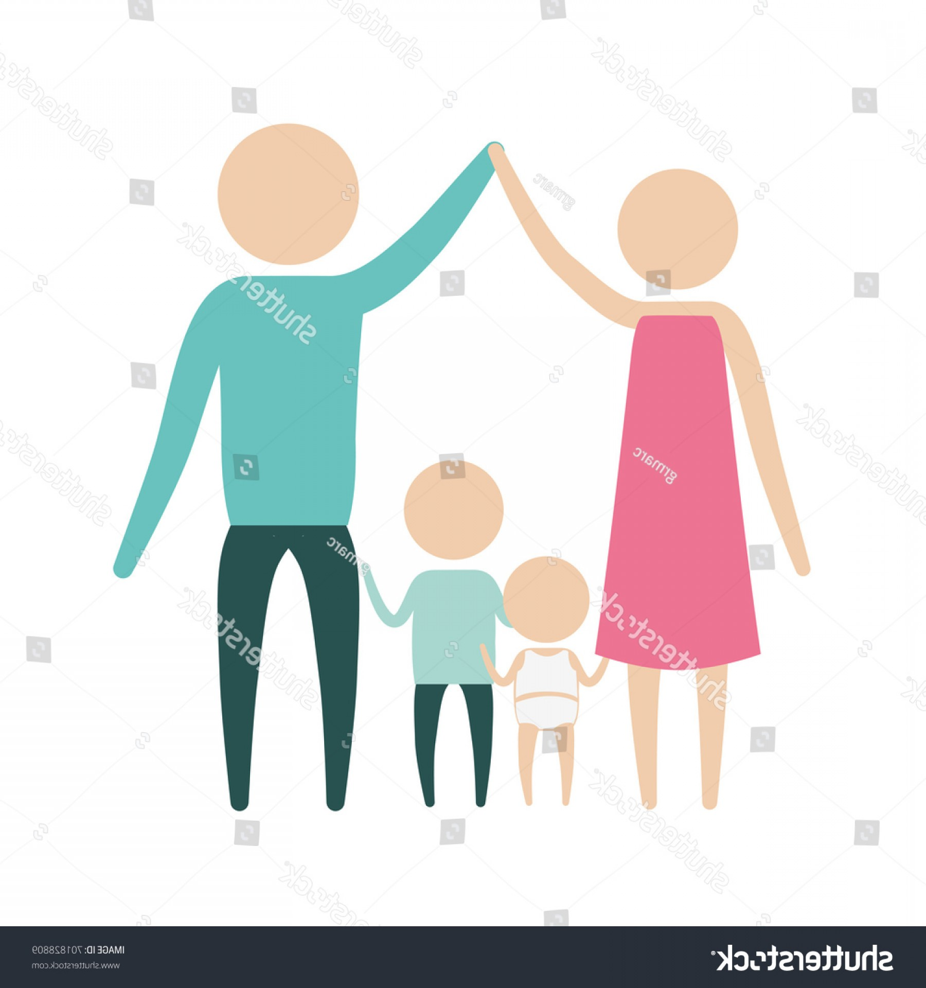 Holding Hands Up Silhouette Vector: Color Silhouette Pictogram Parents Holding Hands