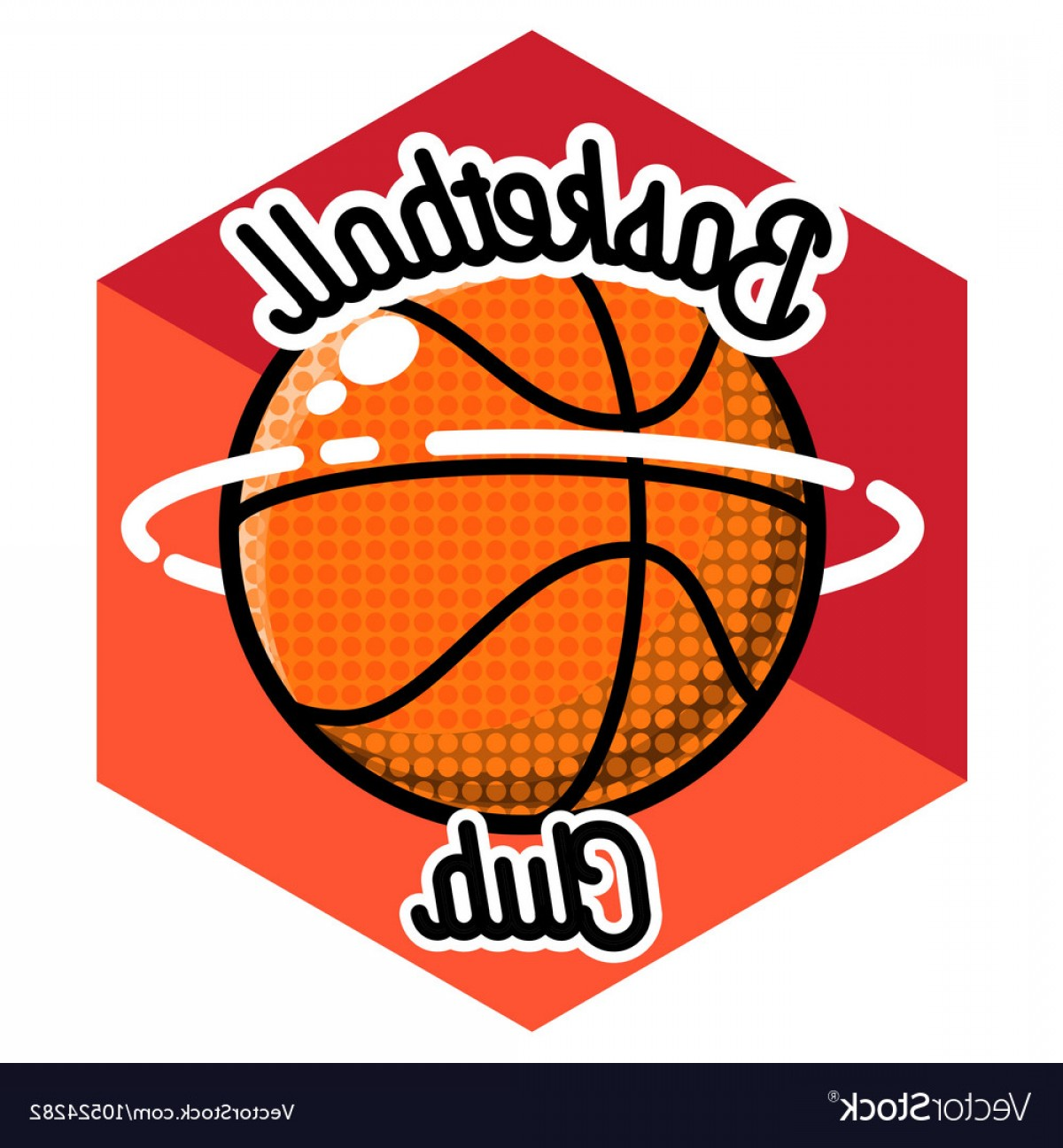 Vintage Basketball Vector: Color Vintage Basketball Emblem Vector
